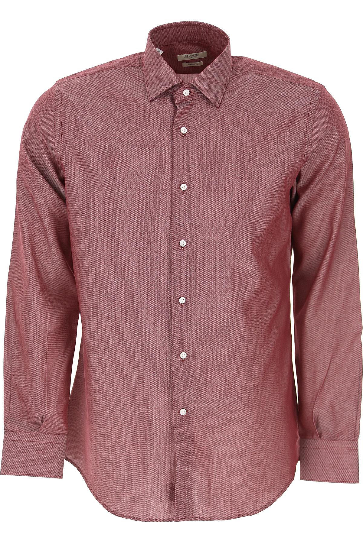 Del Siena Shirt for Men On Sale, Bordeaux, Cotton, 2019, 15 15.5 15.75 16 16.5 17
