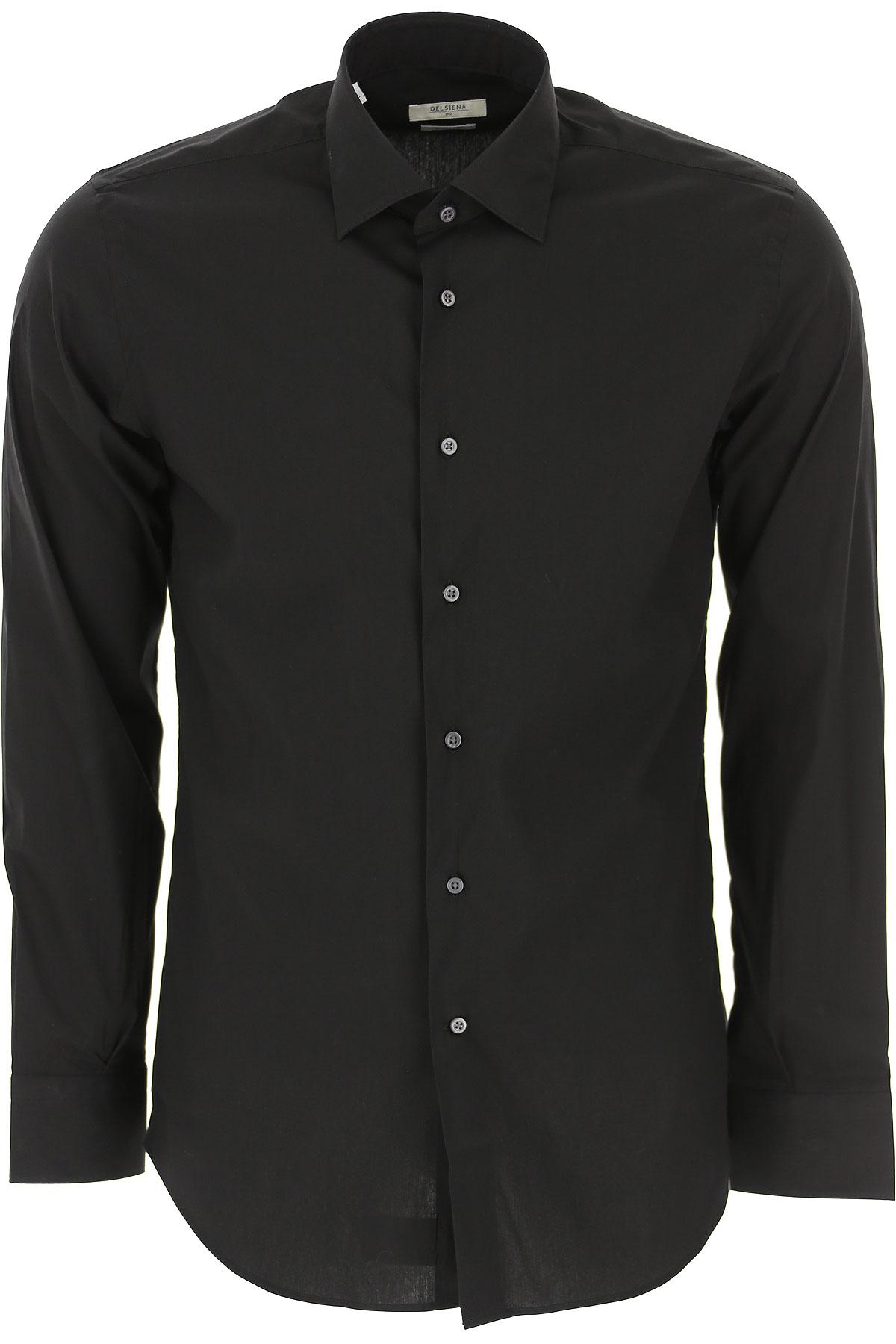 Del Siena Shirt for Men On Sale, Black, Cotton, 2019, 15.5 16