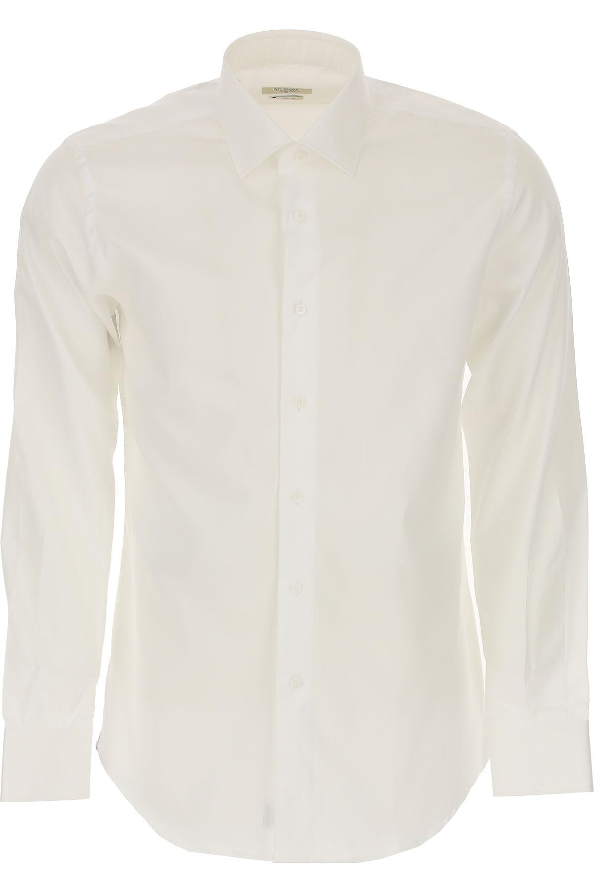 Del Siena Shirt for Men On Sale, White, Cotton, 2019, 15.75 17.5