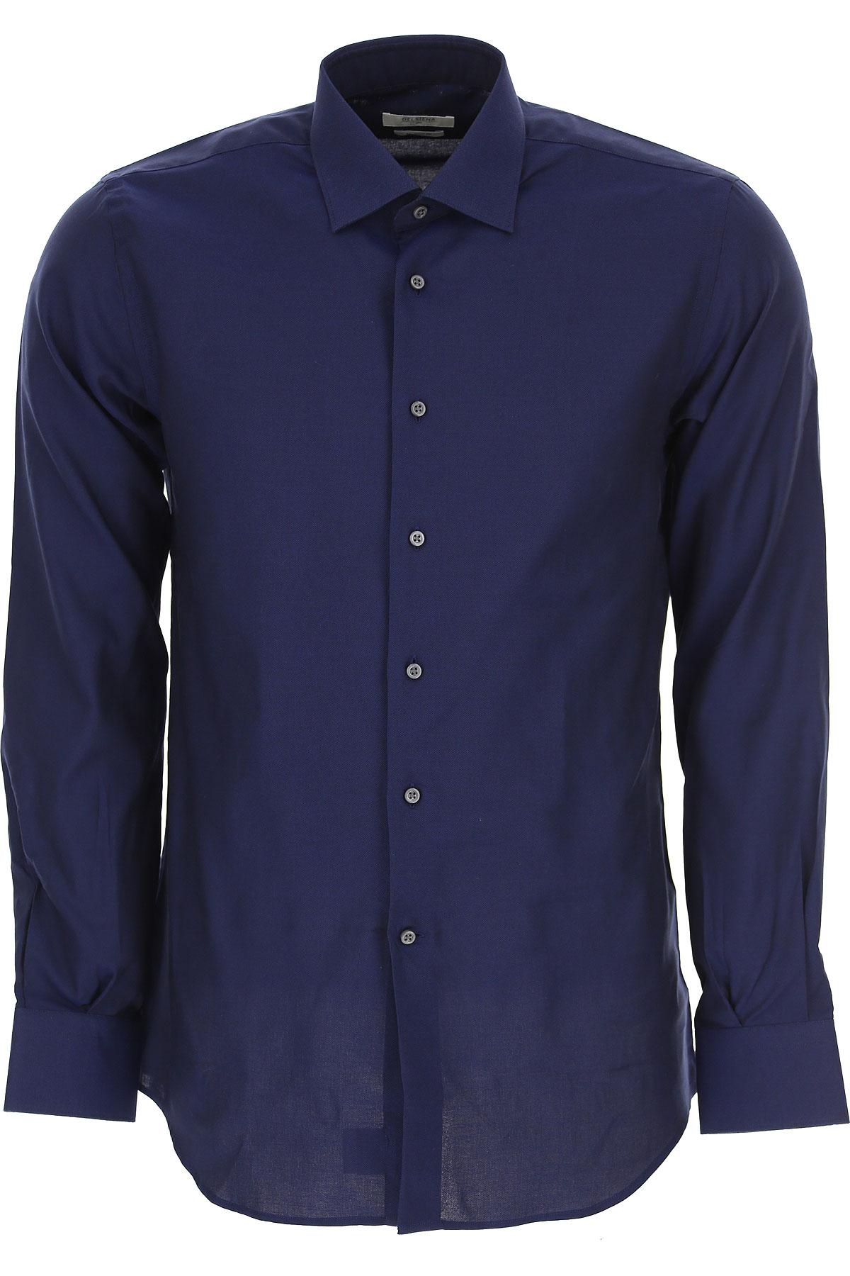 Del Siena Erkekler İçin Gömlekler, Beyaz Gömlekler, Koyu Mavi, Pamuk, 2019, 15 15.5 15.75 16 16.5 17.5