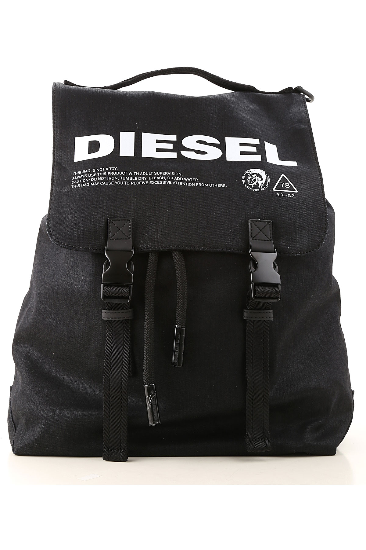 Diesel Backpack for Men, Black, Cotton, 2019