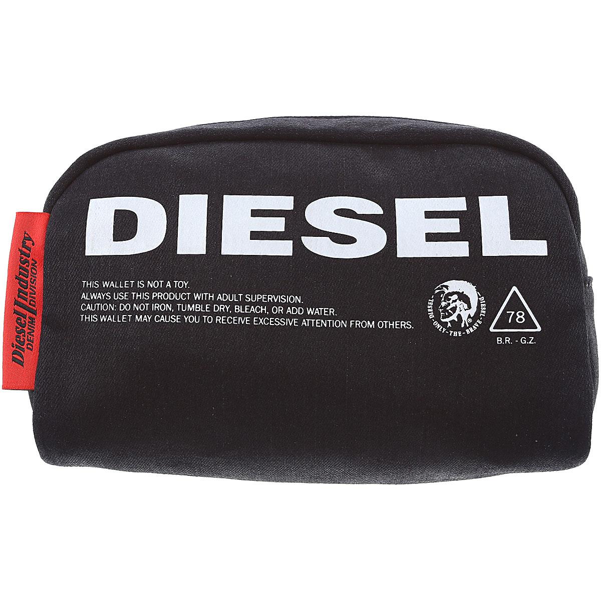 Diesel Toiletry Bag for Men, Black, Cotton, 2019