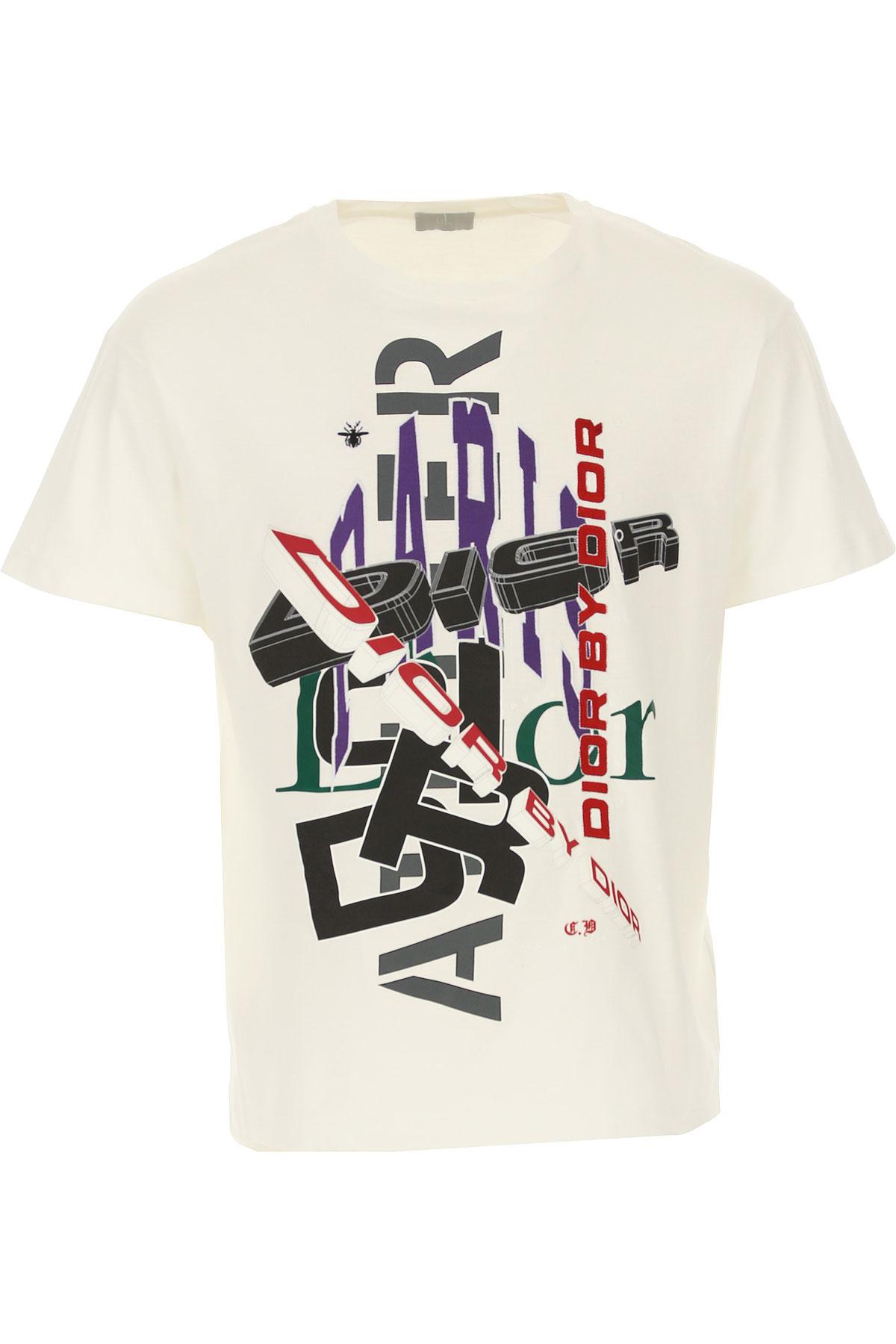 Christian Dior T-shirt Homme Pas cher en Soldes, Blanc, Coton, 2019, M XXL