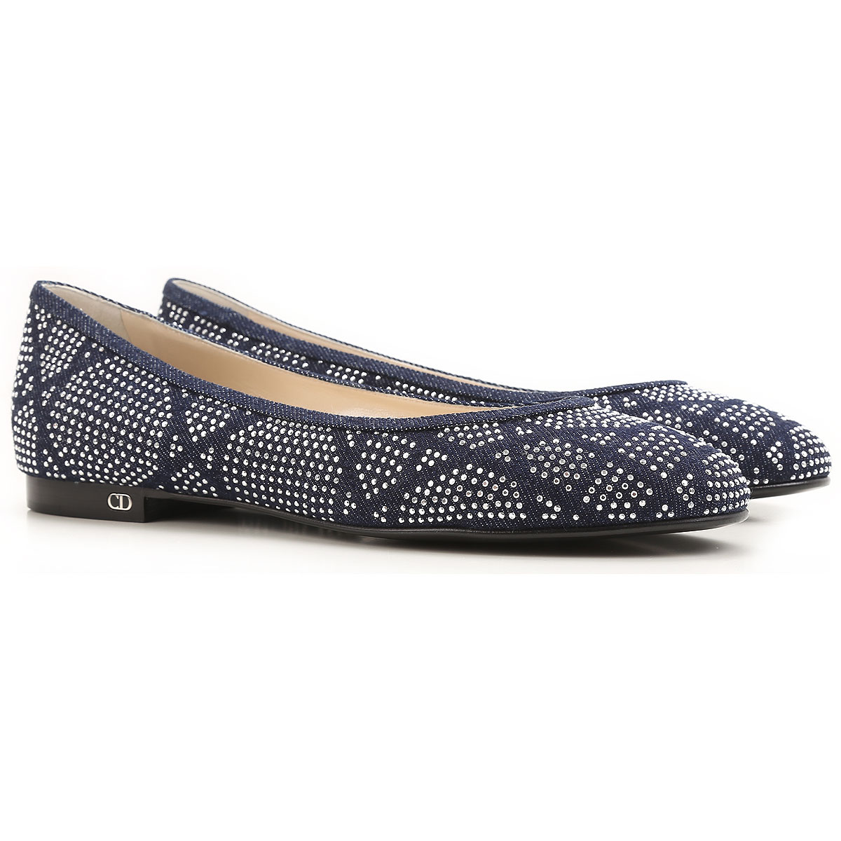 Image of Christian Dior Ballet Flats Ballerina Shoes for Women On Sale in Outlet, Blue Denim, Denim, 2017, 6