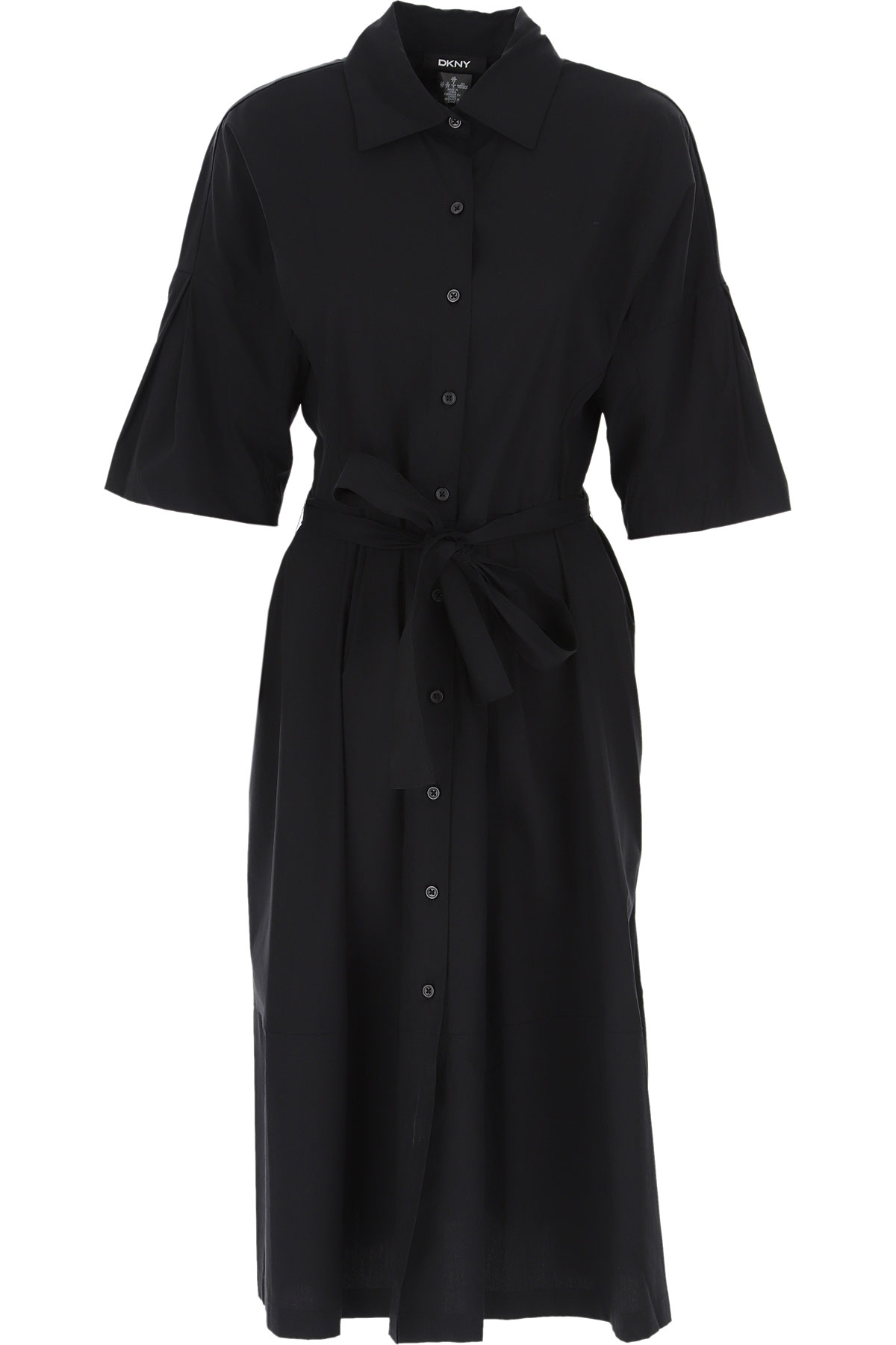 DKNY Dress for Women, Evening Cocktail Party On Sale, Black, Cotton, 2019, 2 4 6