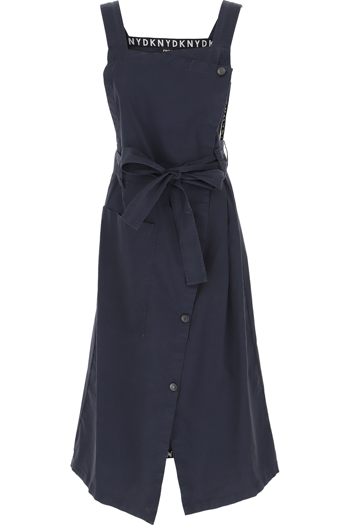 DKNY Dress for Women, Evening Cocktail Party On Sale, Blue Denim, Cotton, 2019, 4 6 8