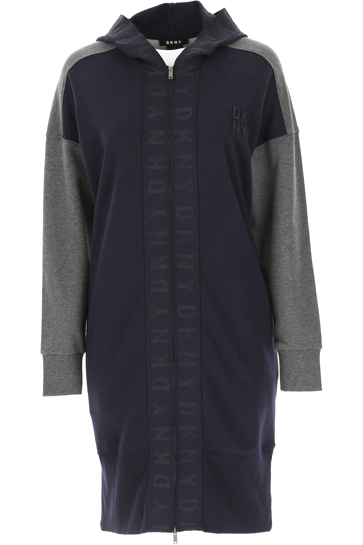 DKNY Dress for Women, Evening Cocktail Party On Sale, Midnight Blue, Cotton, 2019, 4 6 8
