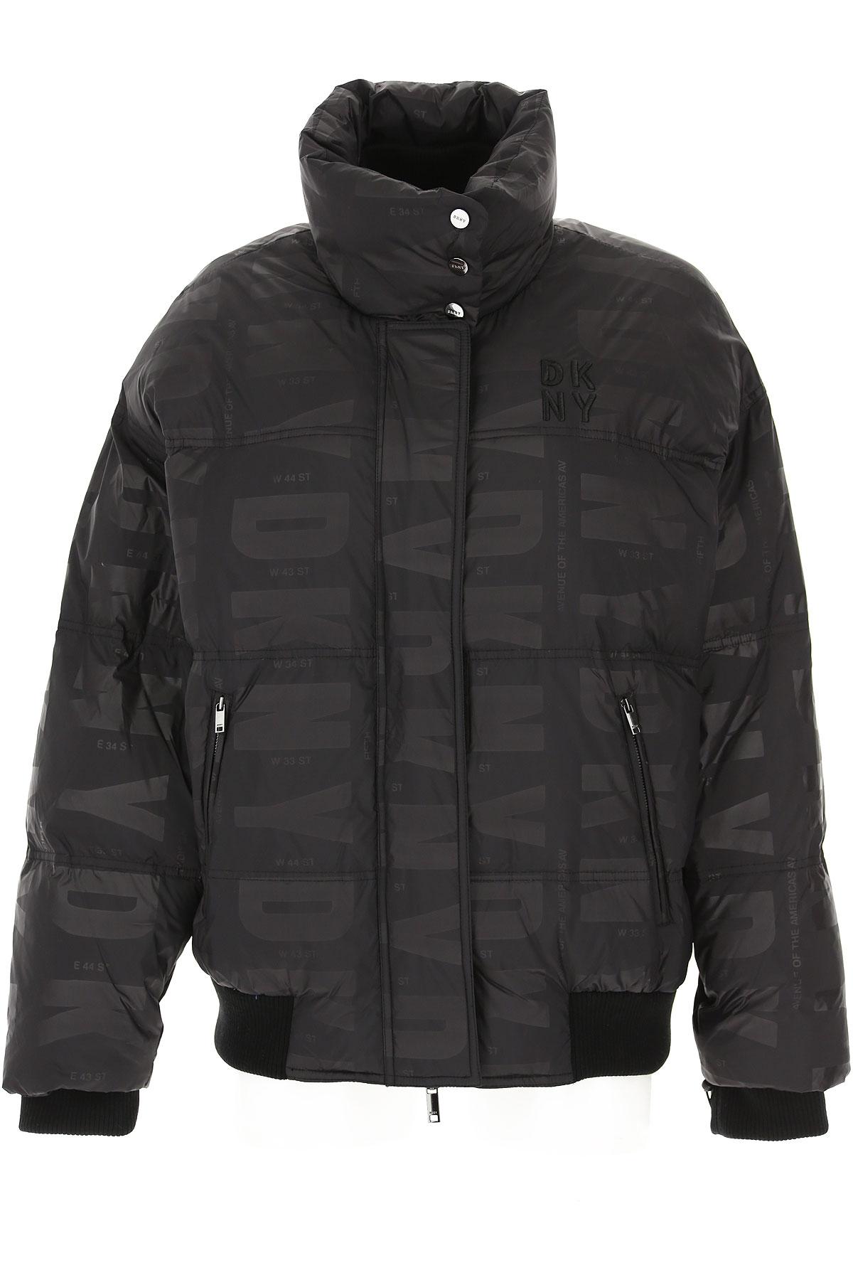 DKNY Down Jacket for Women, Puffer Ski Jacket On Sale, Black, polyester, 2019, 2 4 6 8
