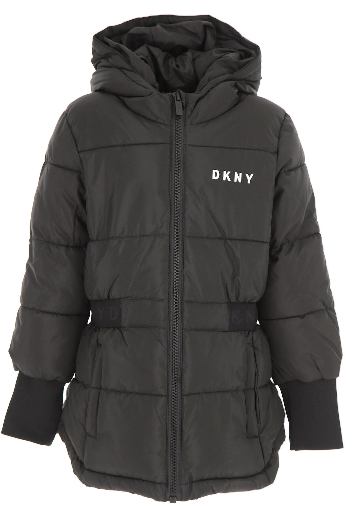 Image of DKNY Girls Down Jacket for Kids, Puffer Ski Jacket, Black, polyester, 2017, 10Y 14Y 16Y 8Y
