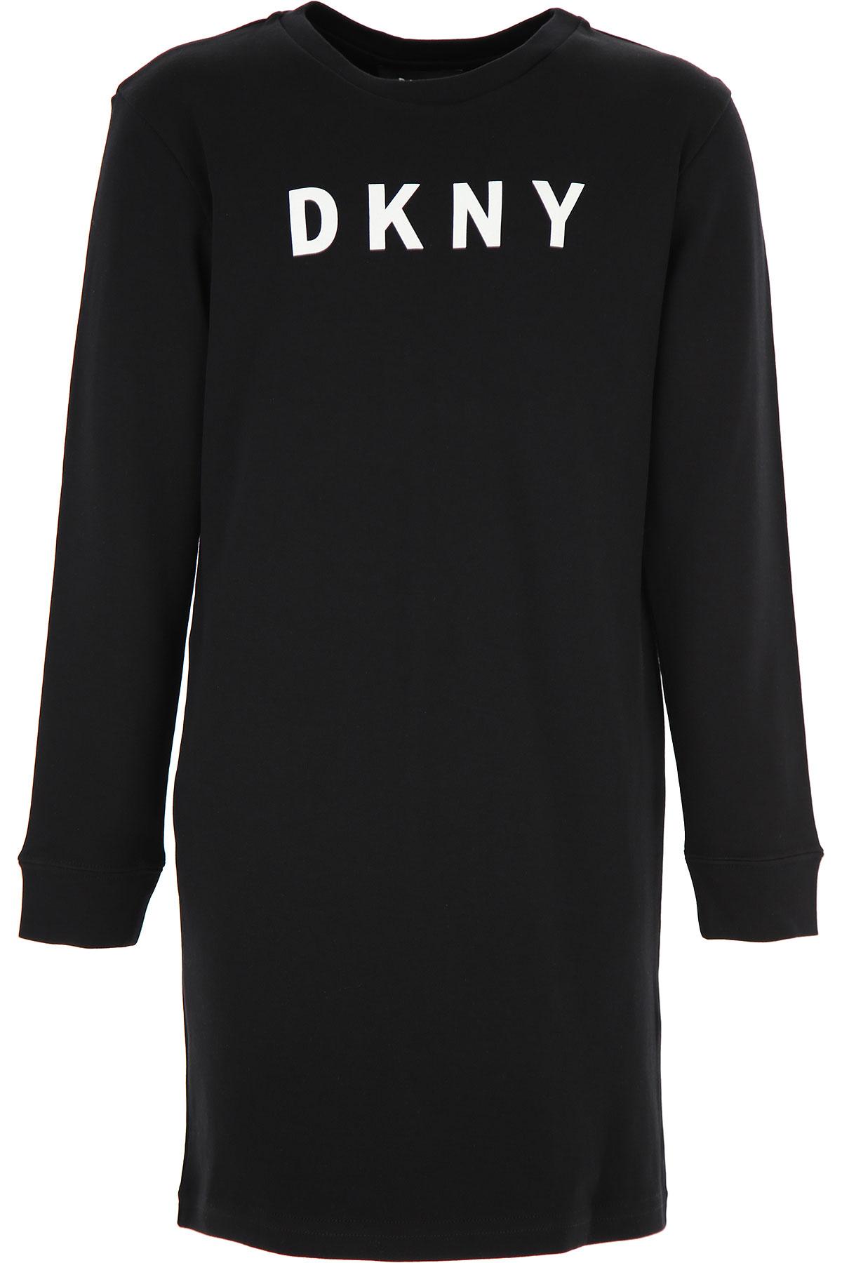 DKNY Girls Dress On Sale, Black, Cotton, 2019, 10Y 14Y 8Y
