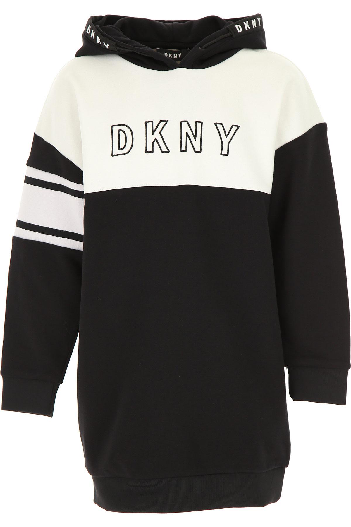 DKNY Girls Dress On Sale, Black, Cotton, 2019, 12Y 14Y