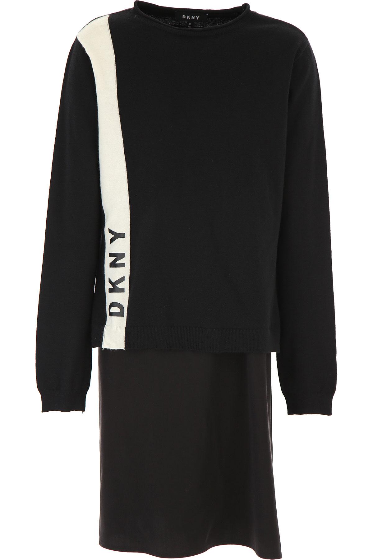DKNY Girls Dress On Sale, Black, viscosa, 2019, 10Y 14Y 16Y 8Y