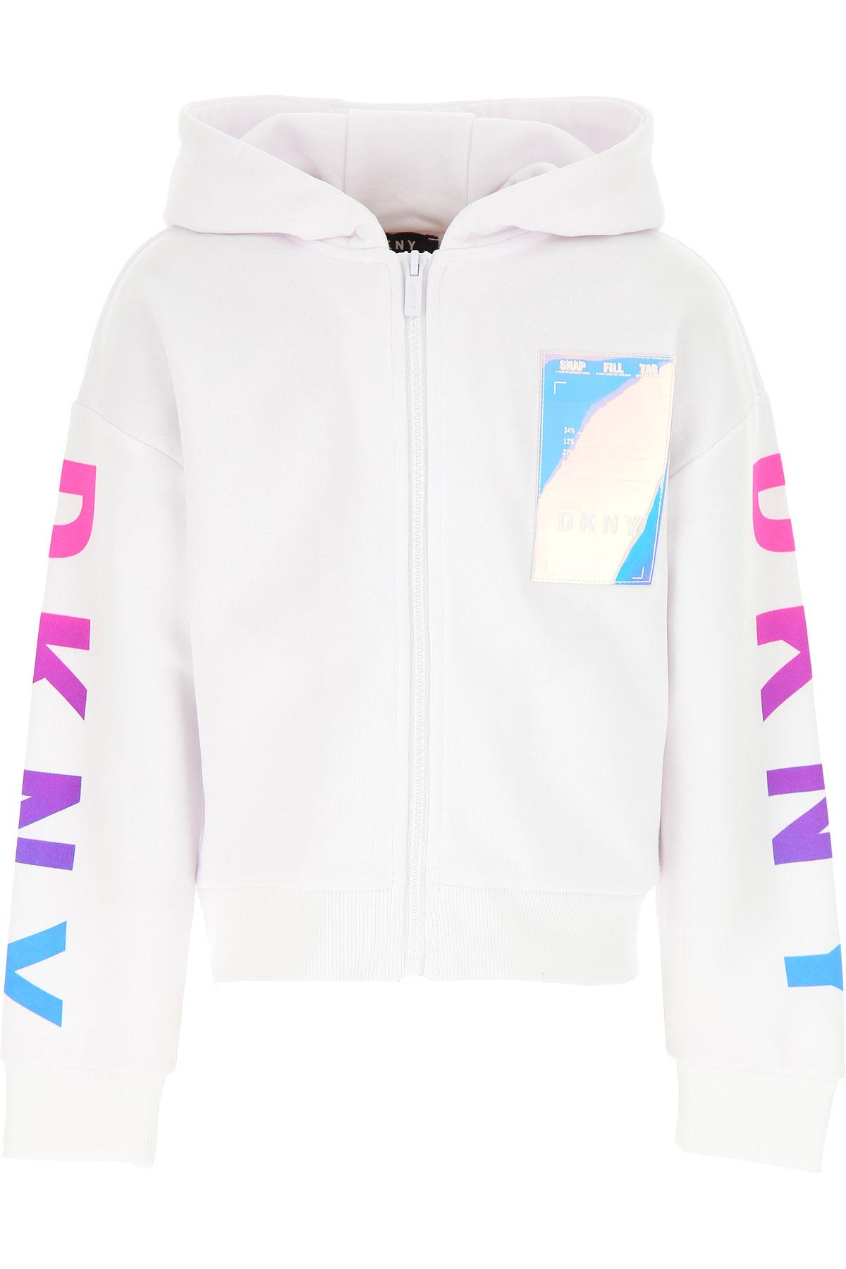 DKNY Kids Sweatshirts & Hoodies for Girls On Sale, White, Cotton, 2019, 10Y 2Y 4Y 6Y 8Y