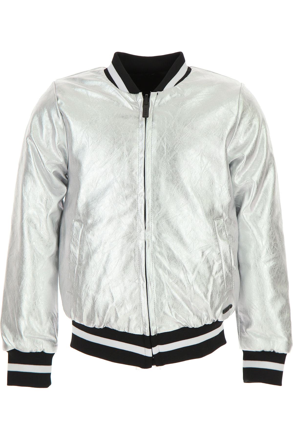 Image of DKNY Kids Jacket for Girls, Silver, Coating Polyurethane, 2017, 14Y 16Y 8Y