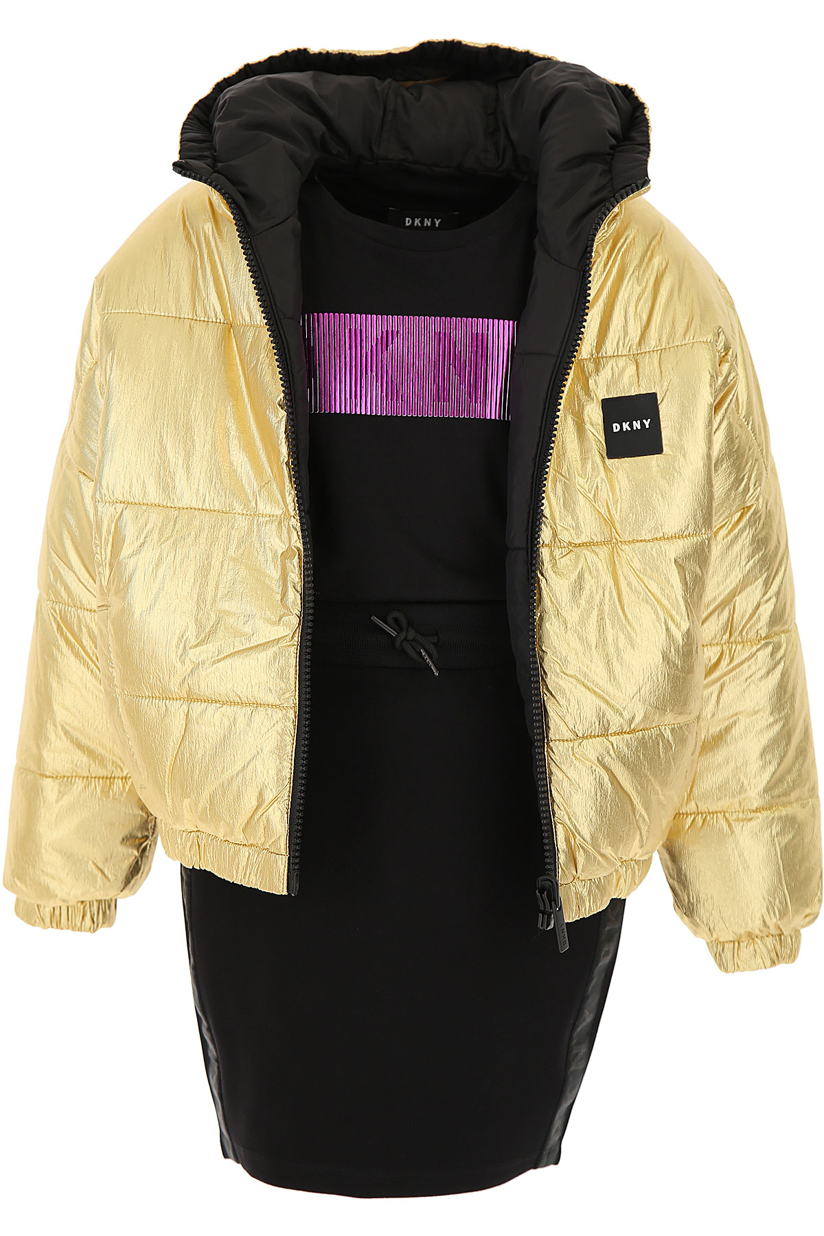 DKNY Girls Down Jacket for Kids, Puffer Ski Jacket On Sale, Black, polyamide, 2019, 10Y 12Y 14Y 16Y 8Y
