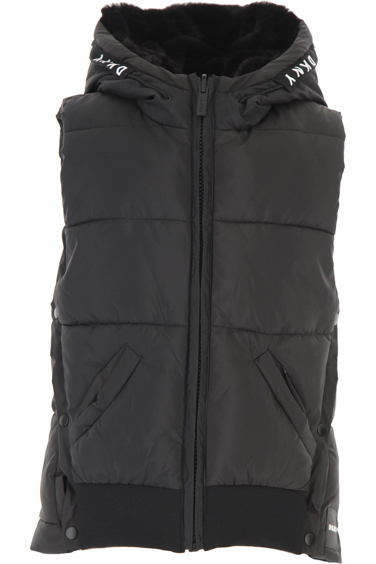 DKNY Girls Down Jacket for Kids, Puffer Ski Jacket On Sale, Black, polyester, 2019, 14Y 16Y 8Y