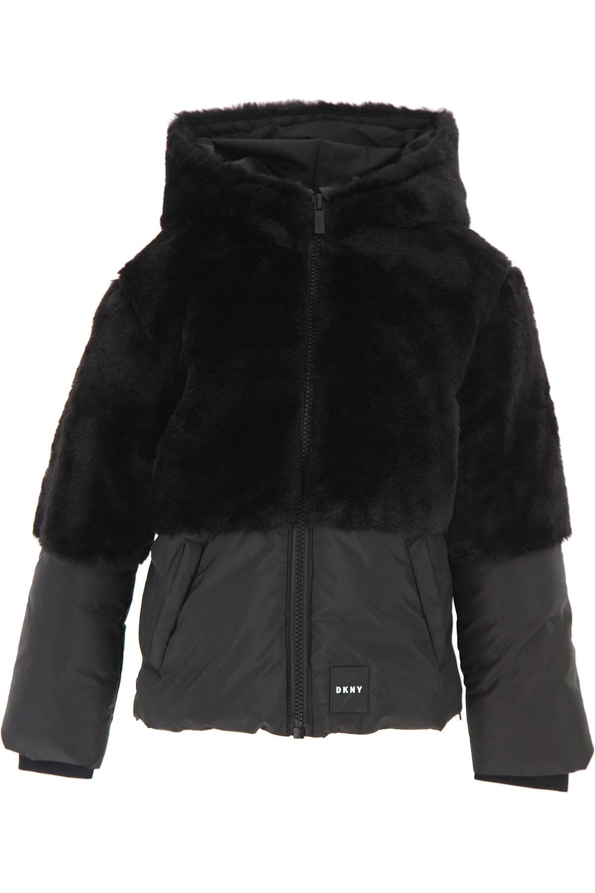DKNY Girls Down Jacket for Kids, Puffer Ski Jacket On Sale, Black, polyester, 2019, 10Y 14Y 8Y