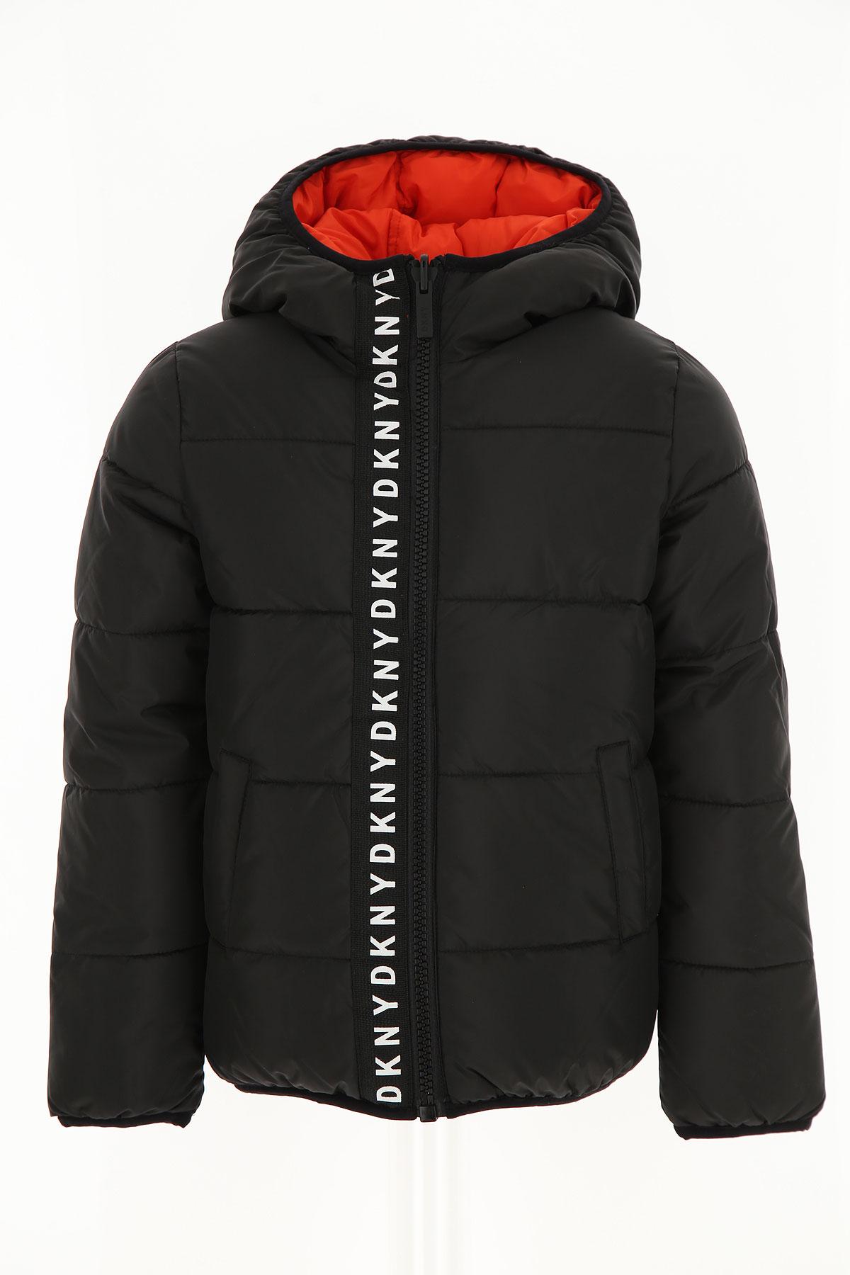 DKNY Boys Down Jacket for Kids, Puffer Ski Jacket On Sale, Black, polyester, 2019, 12Y 8Y