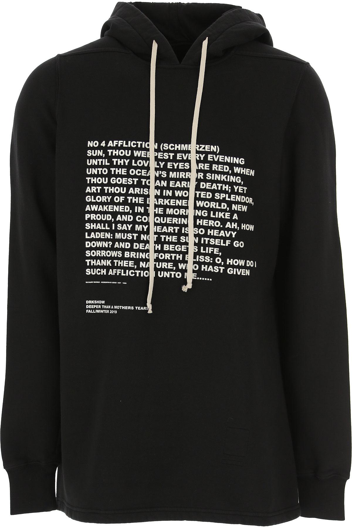 Rick Owens DRKSHDW Sweatshirt for Men On Sale, Black, Cotton, 2019, M S