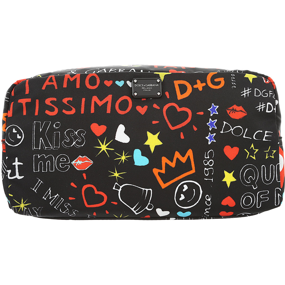 Image of Dolce & Gabbana Makeup Bag Cosmetic Case for Women, Black, Nylon, 2017