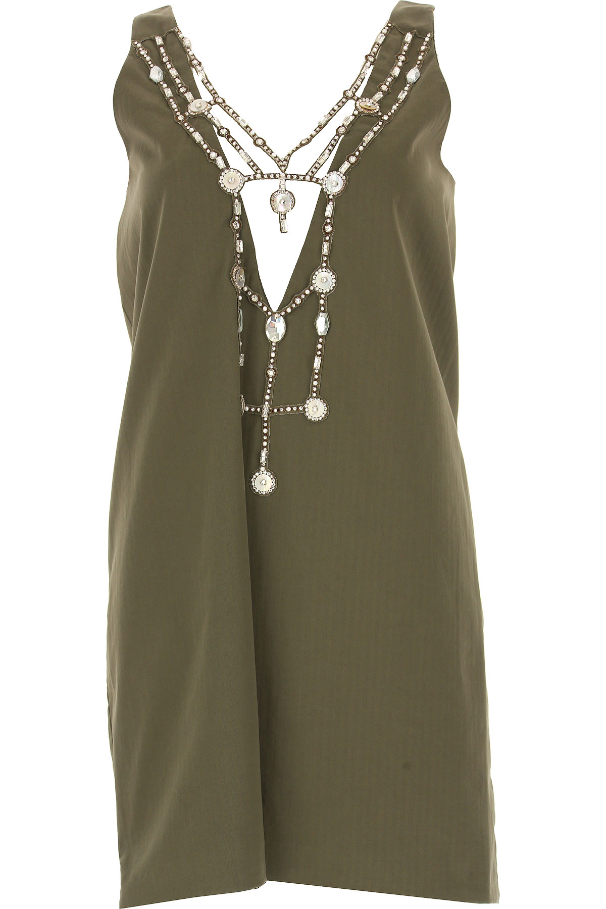Image of Dondup Dress for Women, Evening Cocktail Party On Sale, Military Green, Cotton, 2017, 4 6