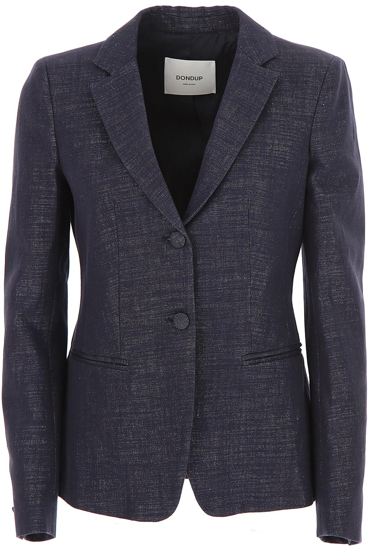 Dondup Blazer for Women On Sale, Navy Blue, Cotton, 2019, 4 8