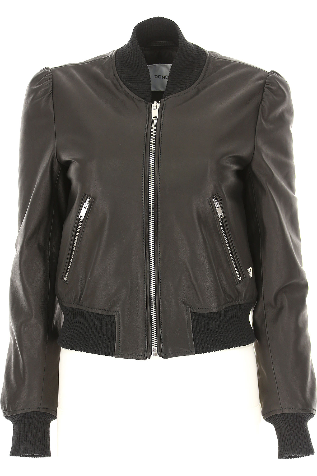 Image of Dondup Leather Jacket for Women, Black, Leather, 2017, 10 2 4 6 8