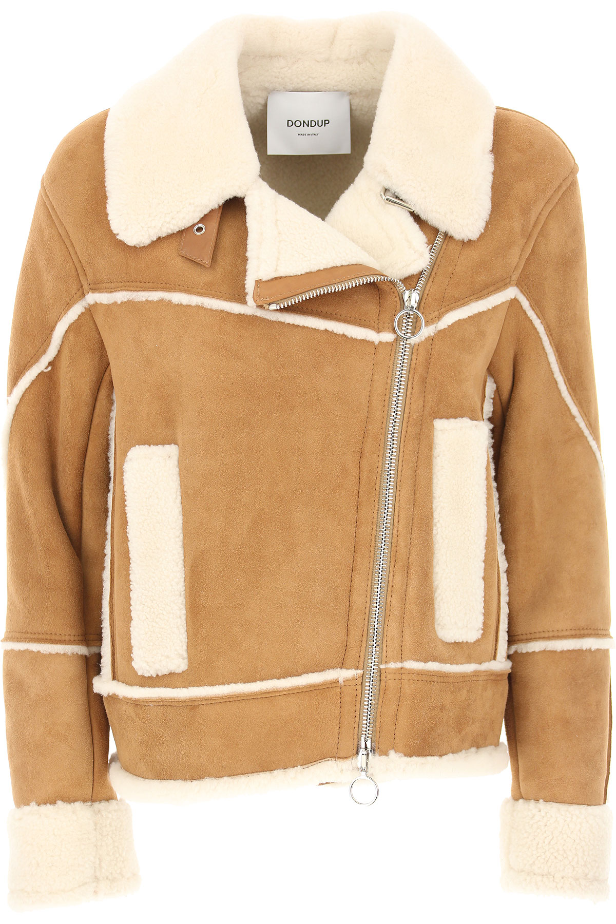 Image of Dondup Leather Jacket for Women, Camel, Leather, 2017, 10 2 4 6 8