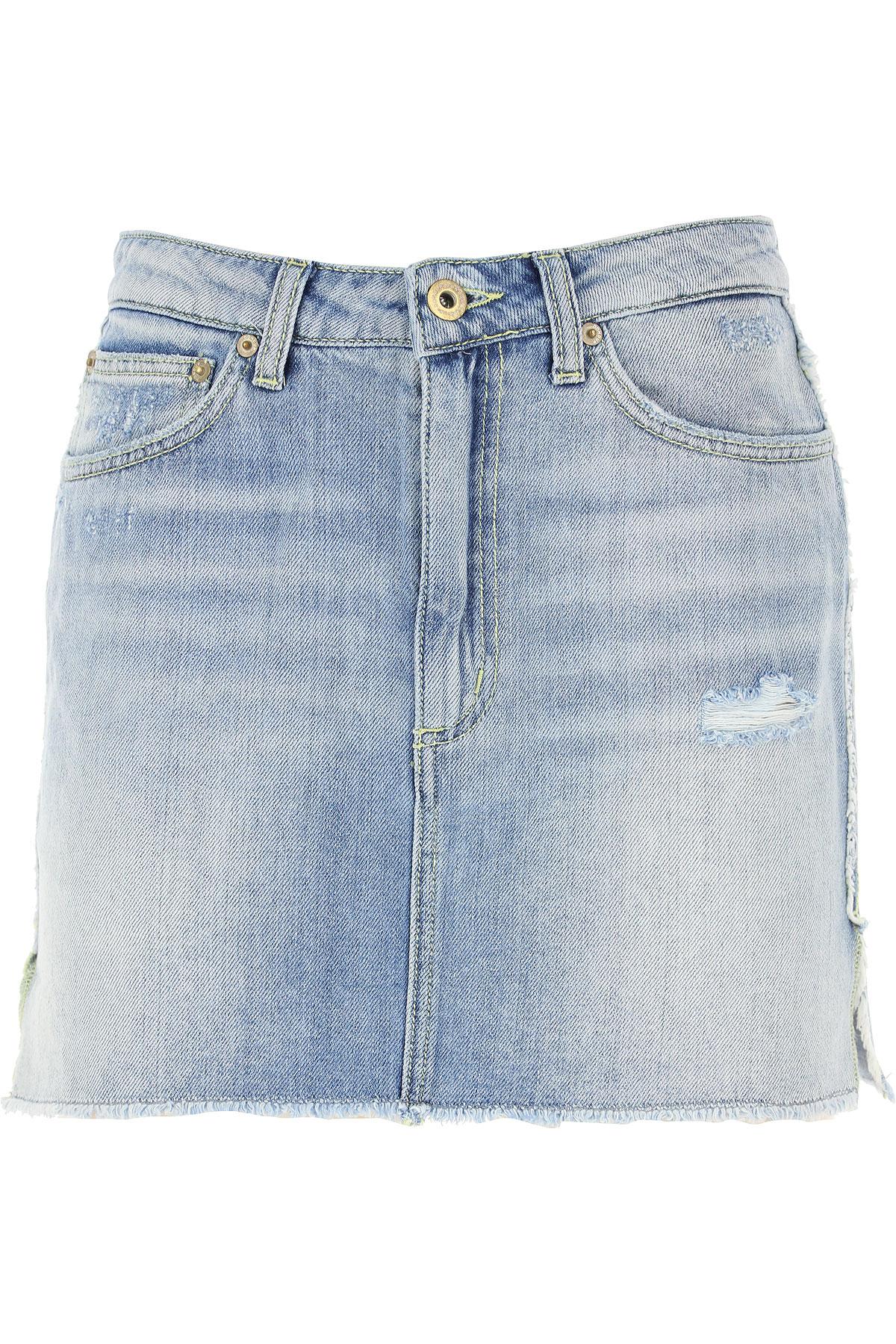Dondup Skirt for Women, Denim Blue, Cotton, 2017, 25 26 27 28 29 30