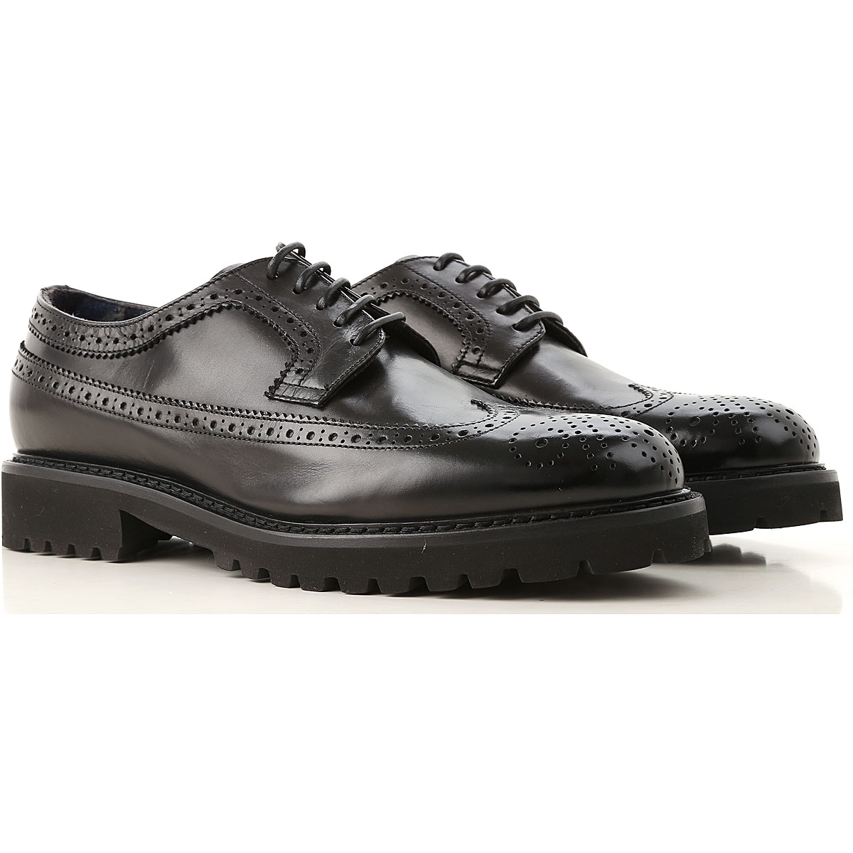 Image of Doucals Lace Up Shoes for Men Oxfords, Derbies and Brogues, Black, Leather, 2017, 10 10.5 7.5 8 9