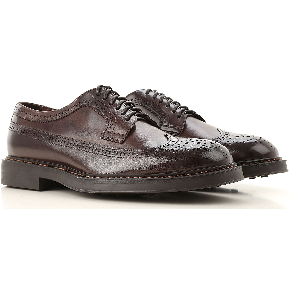 Doucals Lace Up Shoes for Men Oxfords, Derbies and Brogues, Dark Brown, Leather, 2019, 10 11.5 7.5 8 9