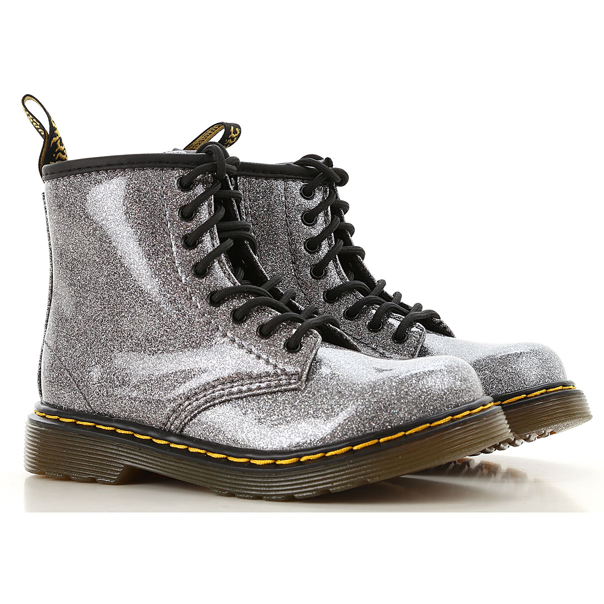 Image of Dr. Martens Boots, Gun Metal, Glitter Coated Fabric, 2017, 22 23 25 26 27