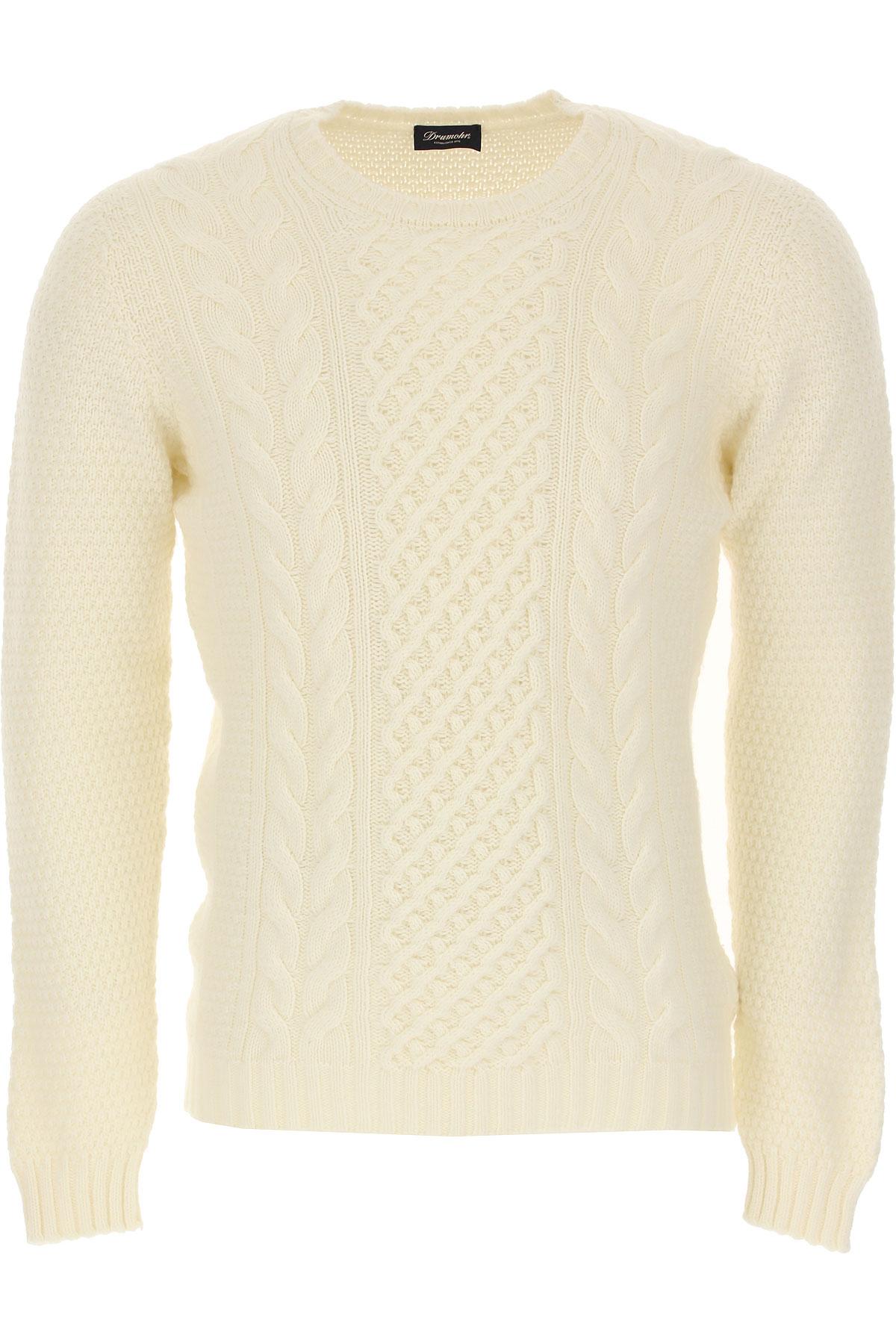 Drumohr Sweater for Men Jumper On Sale, White, Lambswool, 2019, M XL