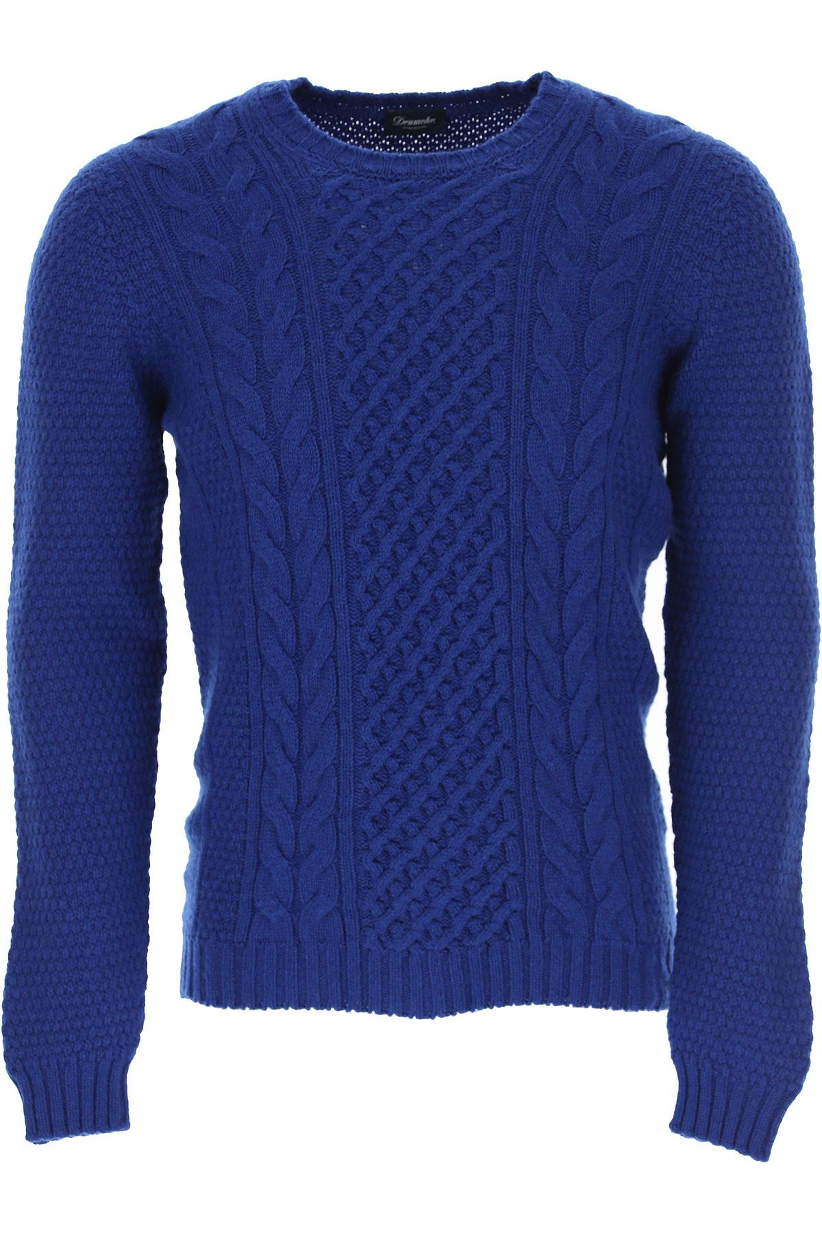 Drumohr Sweater for Men Jumper On Sale, Bluette, Lambswool, 2019, XL XXL