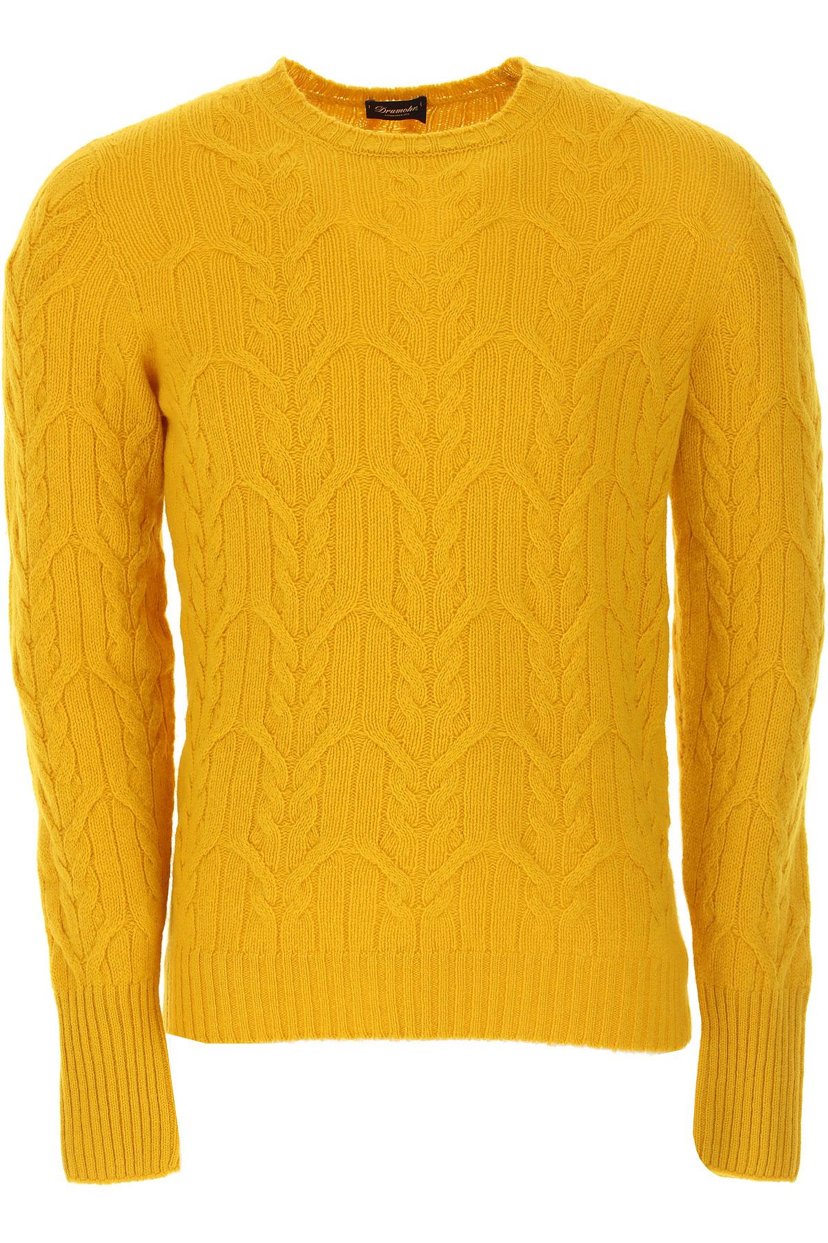 Drumohr Sweater for Men Jumper On Sale, Yellow, Lambswool, 2019, L M XL