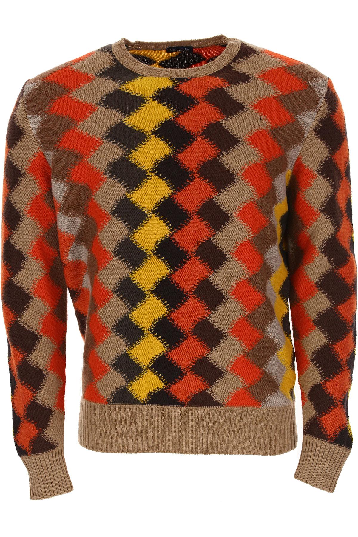 Drumohr Sweater for Men Jumper, Camel, Lambswool, 2019, M XL