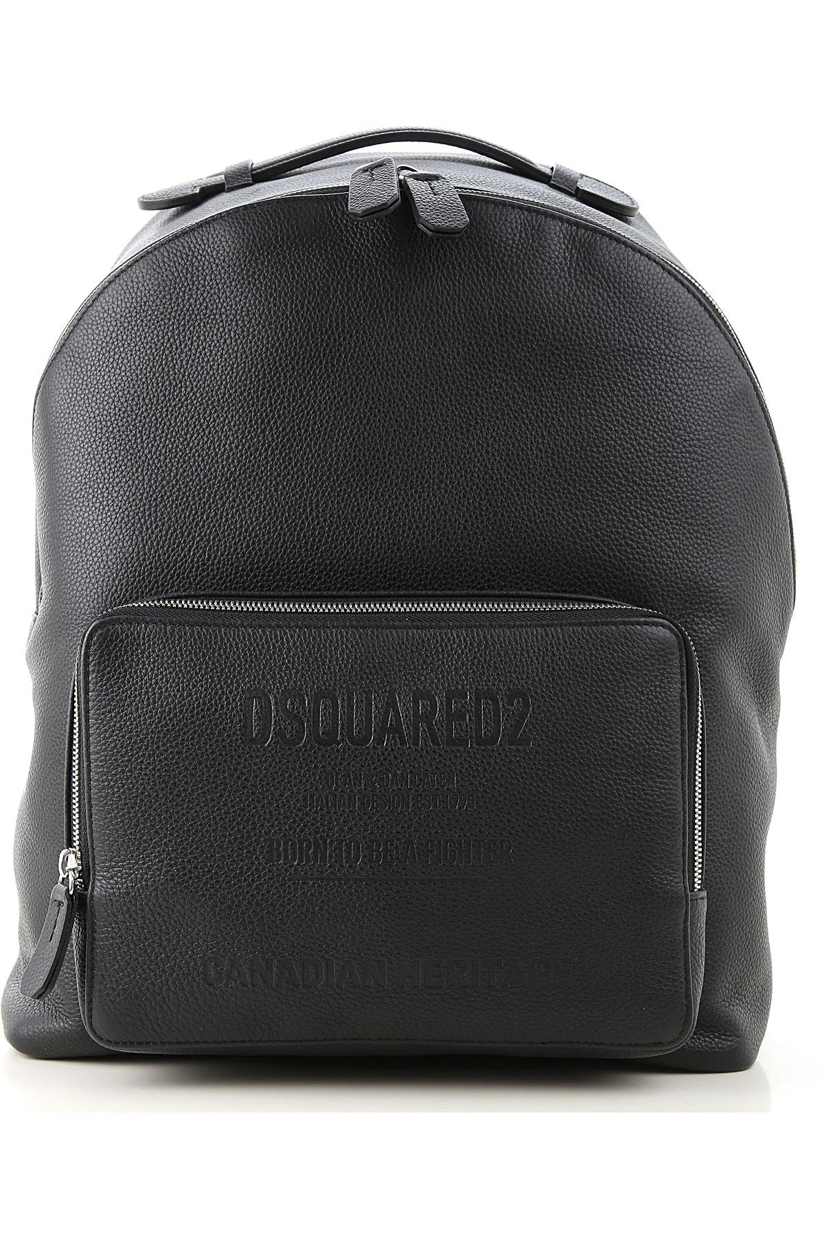 Dsquared2 Backpack for Men On Sale, Black, Leather, 2019
