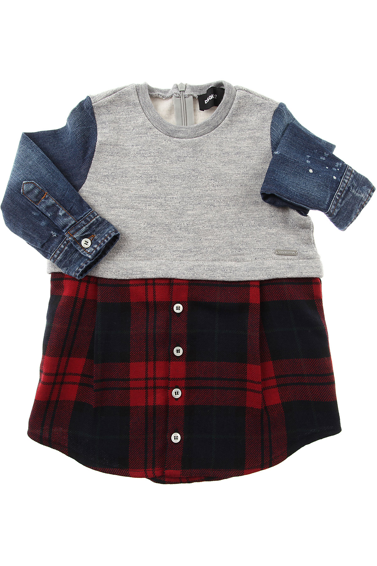 Image of Dsquared2 Baby Dress for Girls, Grey, Cotton, 2017, 12M 18M 2Y