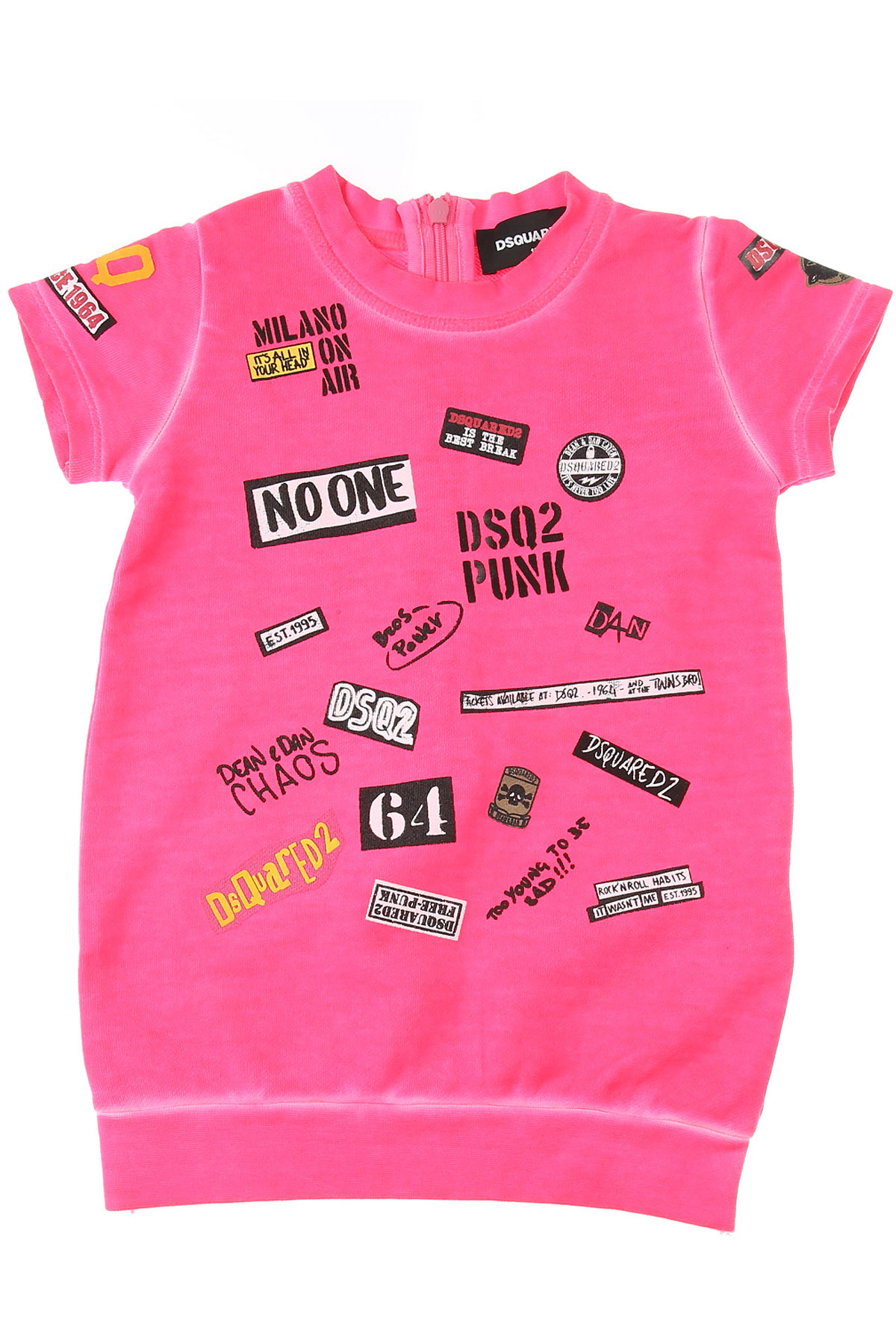Dsquared2 Baby Dress for Girls On Sale, Fluo Pink, Cotton, 2019, 12M 3Y 9M