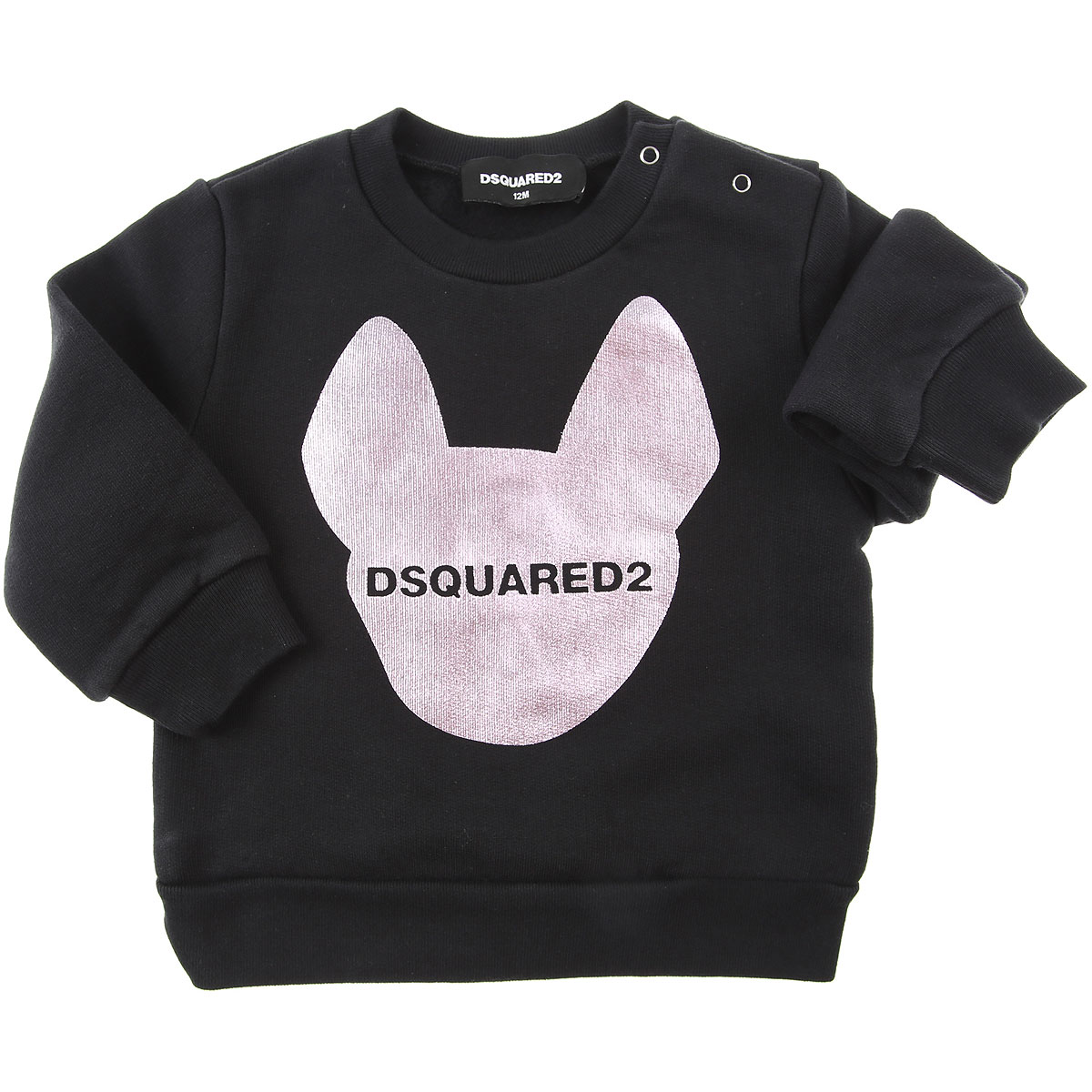Dsquared2 Baby Sweatshirts & Hoodies for Girls On Sale, Black, Cotton, 2019, 12M 18M 1M 2Y 6M 9M