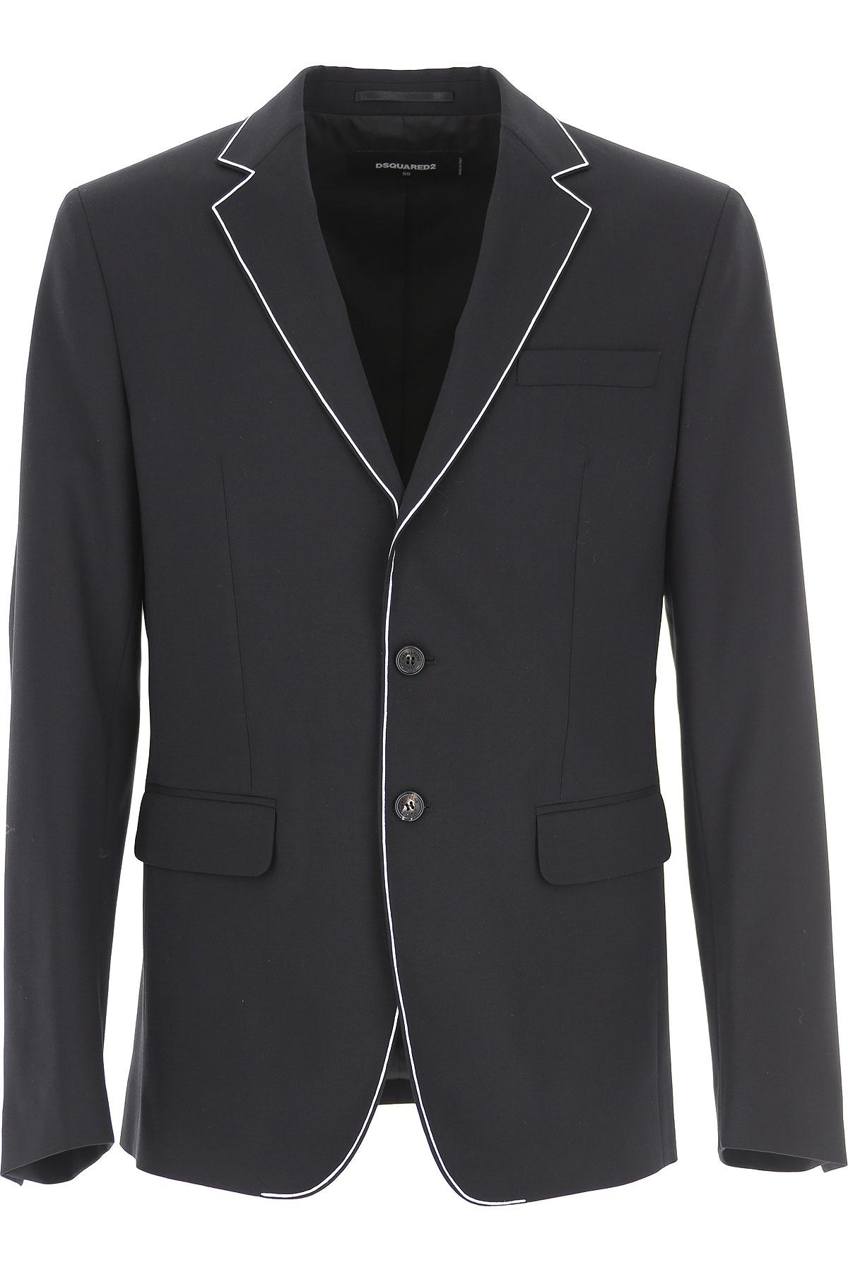 Dsquared2 Blazer for Men, Sport Coat On Sale, Black, Wool, 2019, L XL