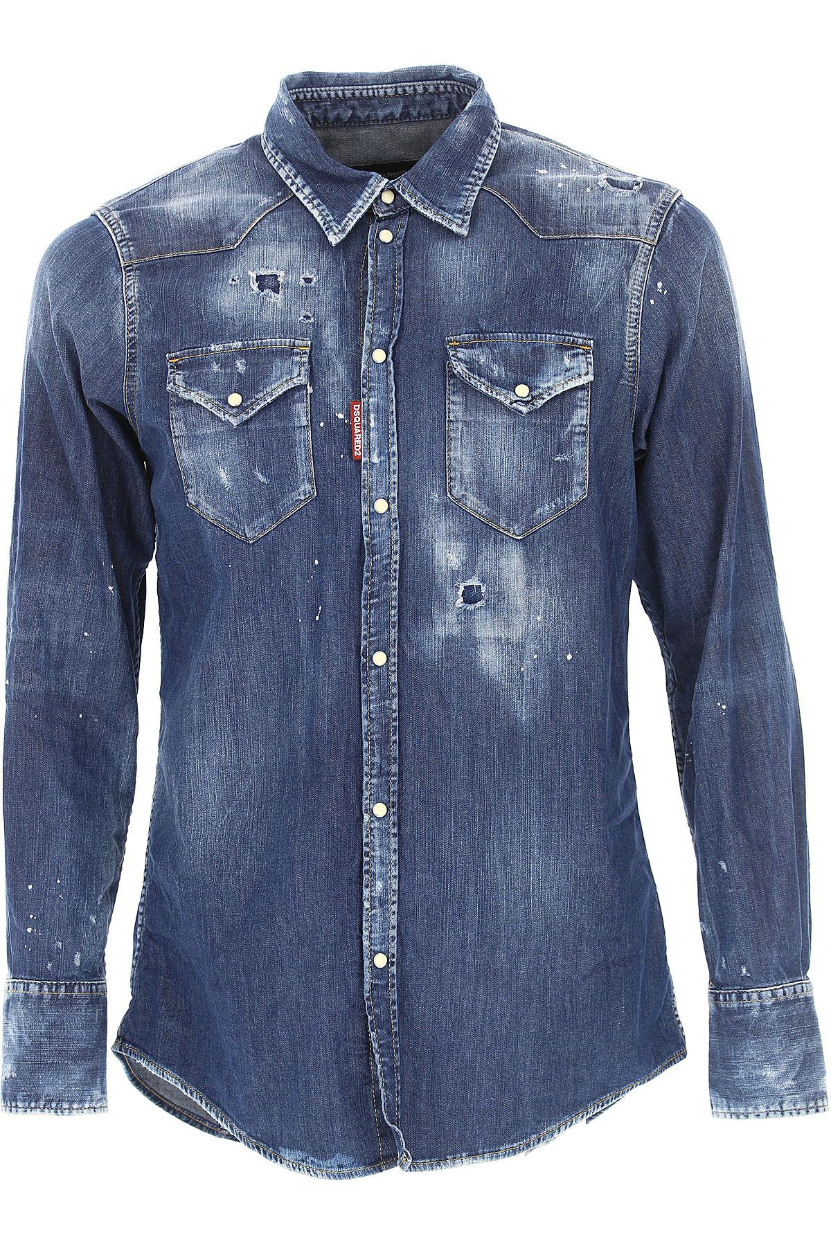 Dsquared2 Shirt for Men, Denim Blue, Cotton, 2017, S • IT 46 M • IT 48 L • IT 50