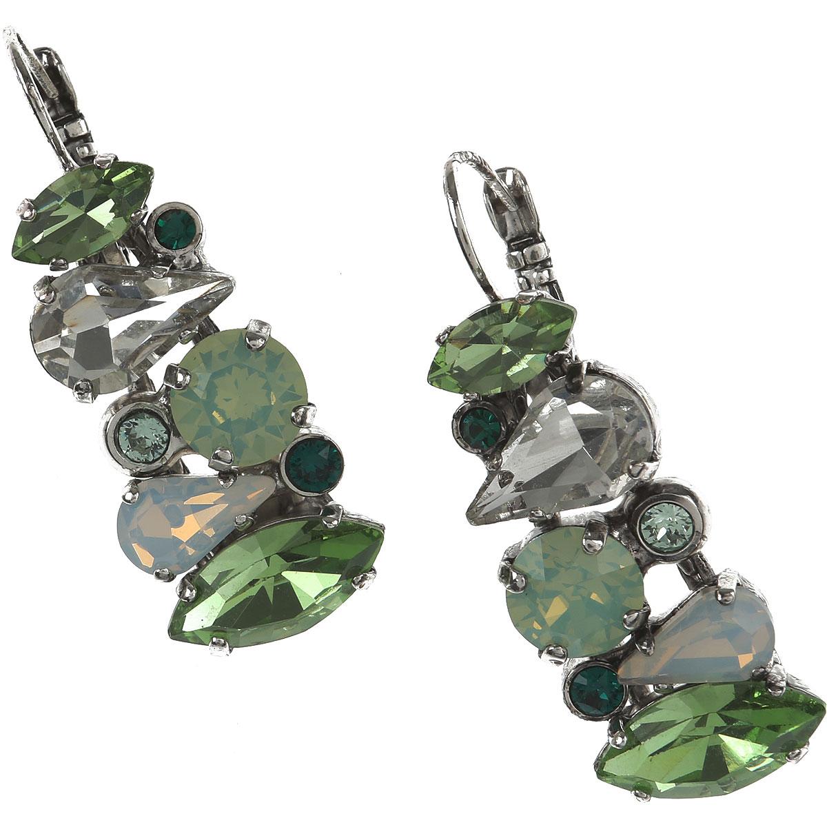 Dueci Bijoux Earrings for Women On Sale, Green, Crystals, 2019