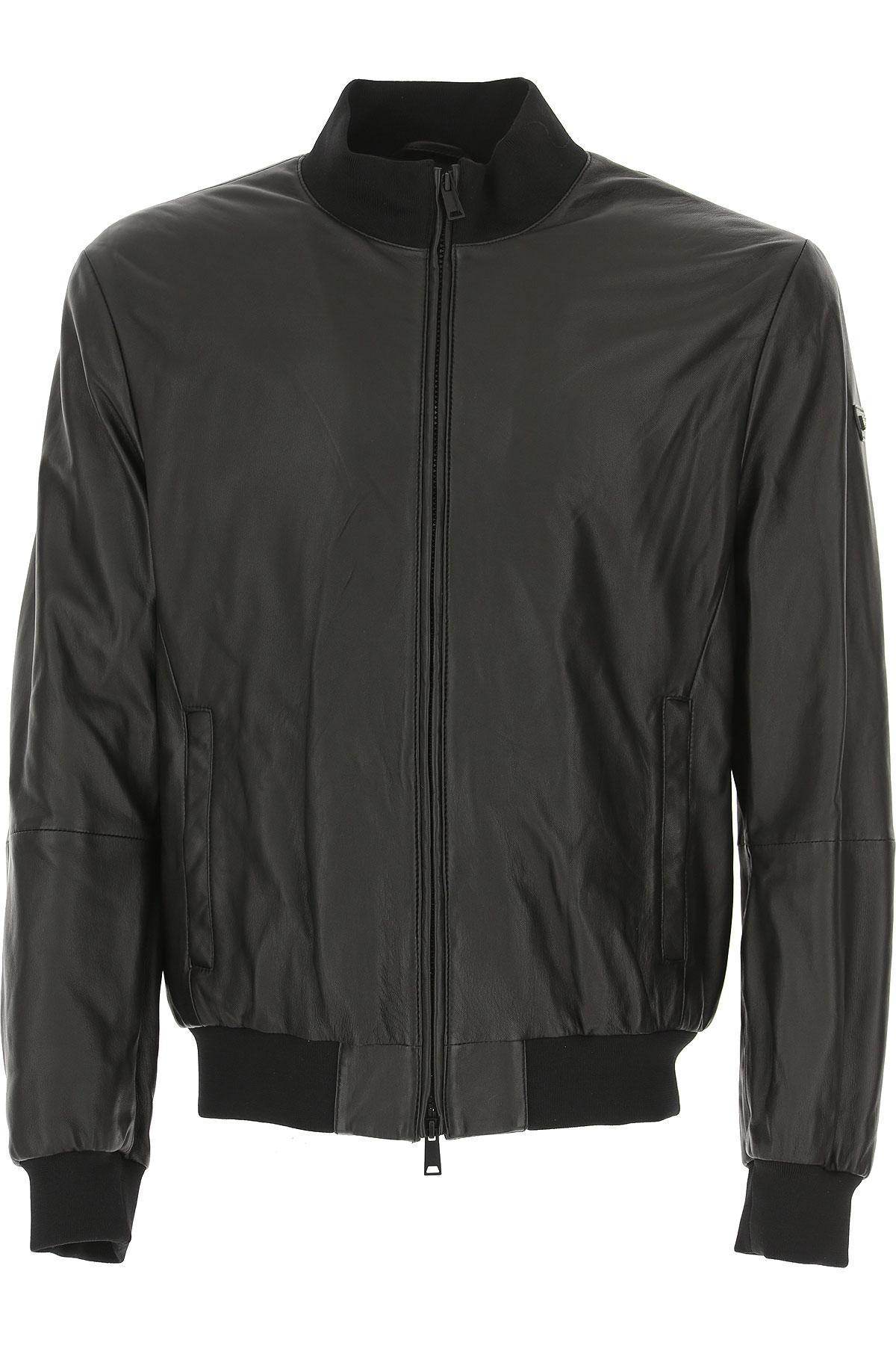 エンポリオ・アルマーニ レザージャケット男性用 メンズ, 黒, ラムレザー, 2017, L M S XL