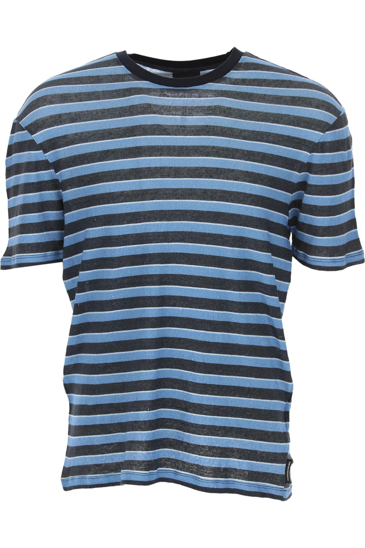 Emporio Armani T-shirt Homme, Bleu, Lin, 2019, L M XL XXL XXXL