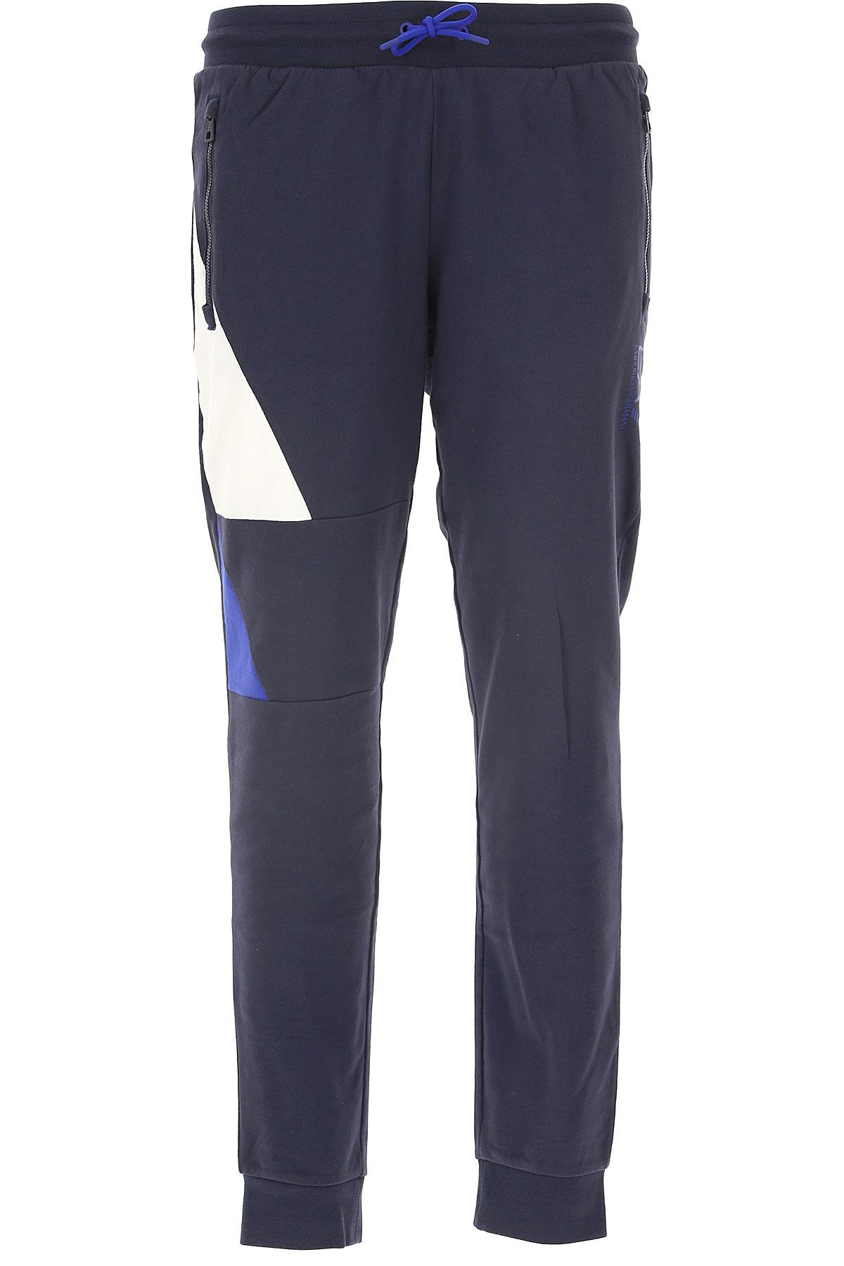 Emporio Armani Pantalon Homme Pas Cher En Soldes, Bleu Marine, Coton, 2019, L M XL