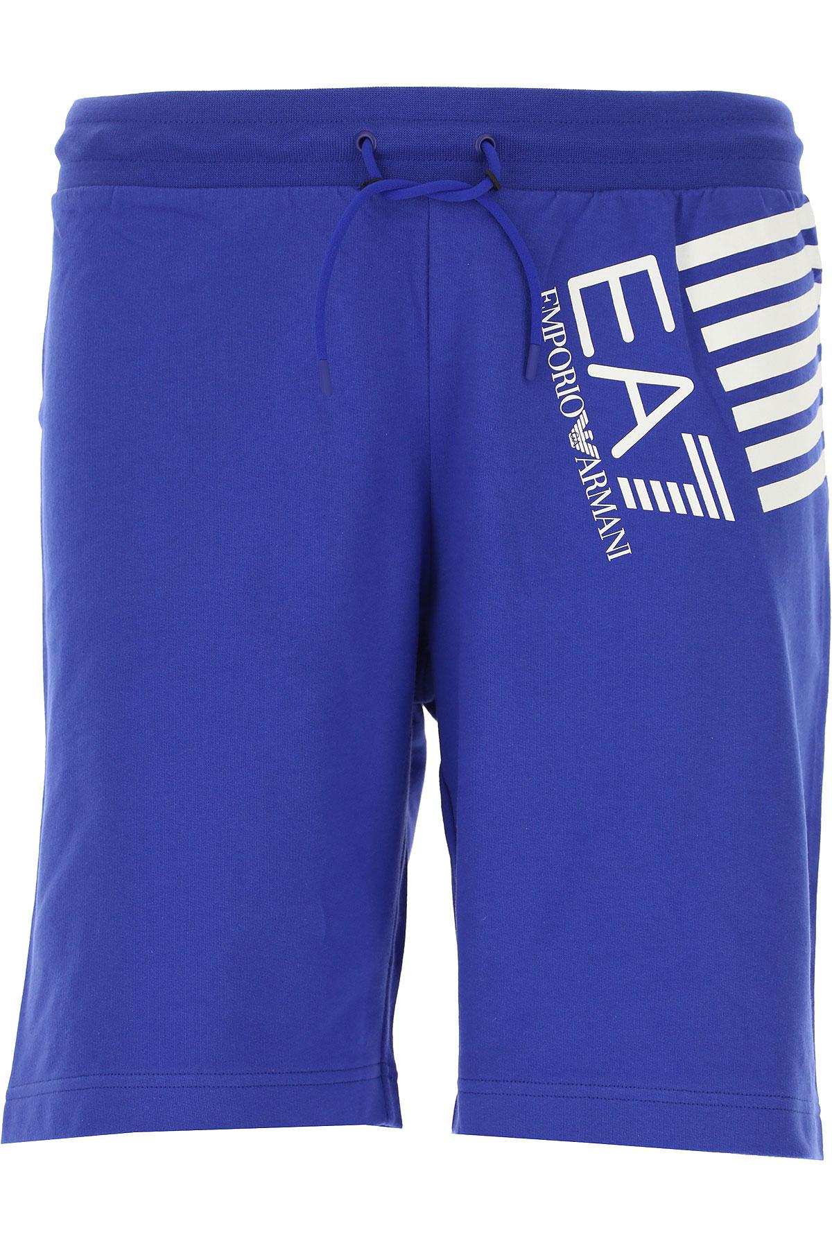 Emporio Armani Short Homme Pas Cher En Soldes, Bleu électrique, Coton, 2019, L M S XL
