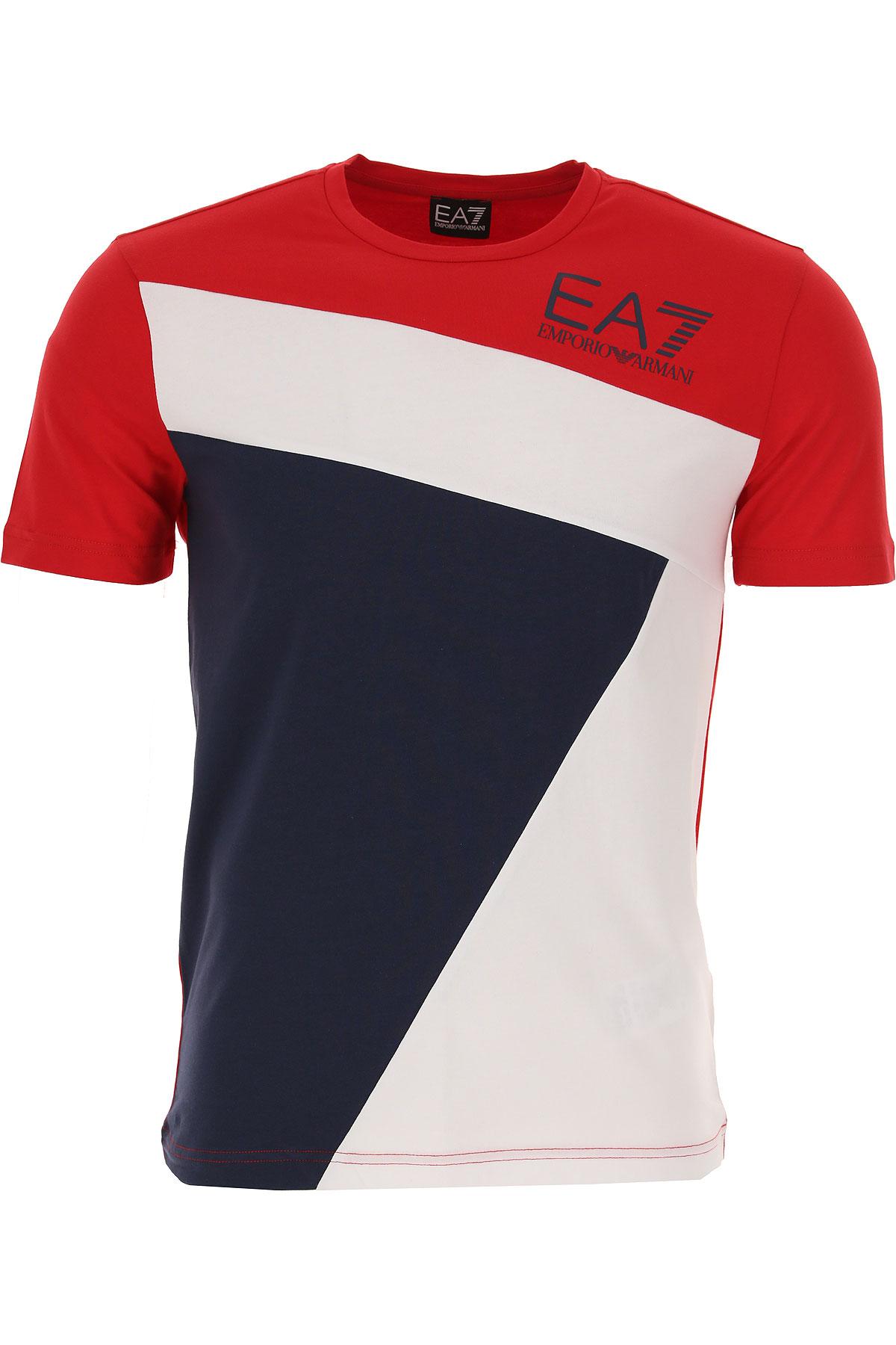 Emporio Armani T-shirt Homme Pas Cher En Soldes, Rouge, Coton, 2019, L M S XL