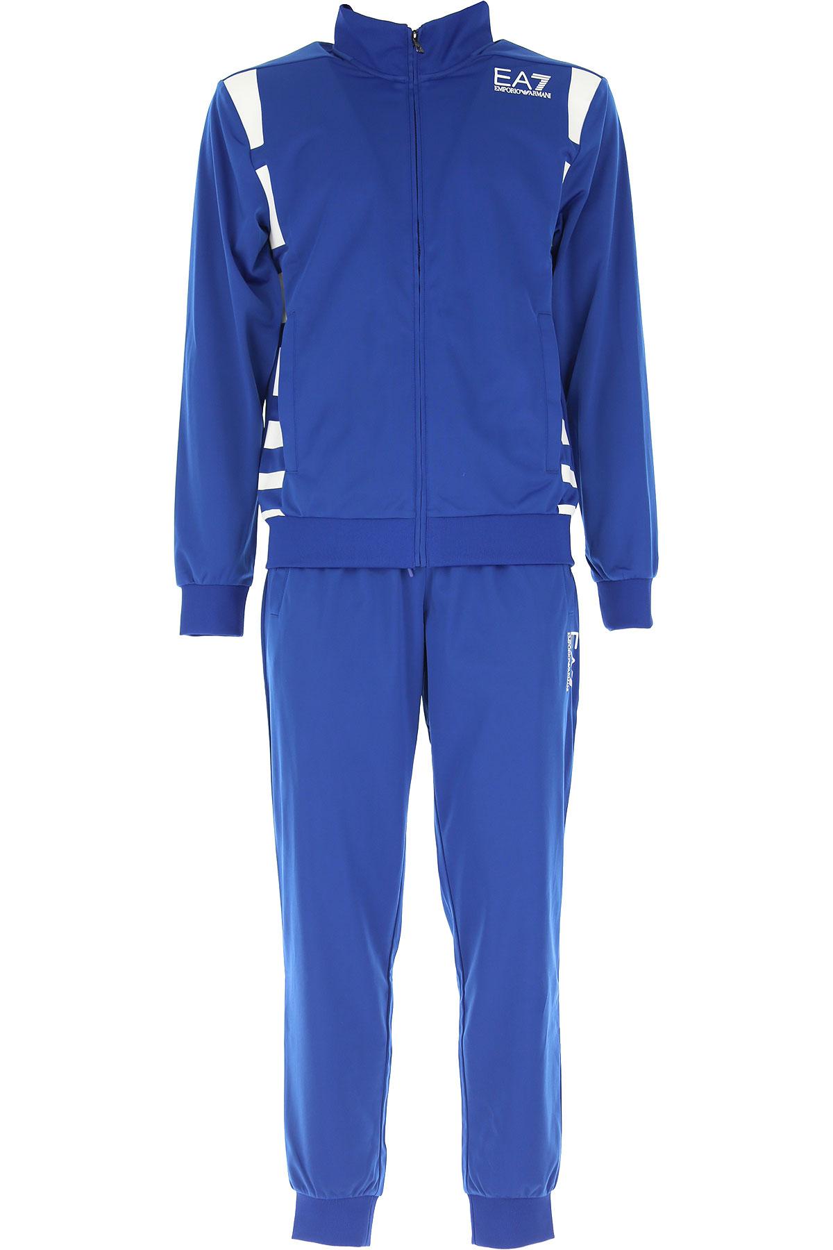 Emporio Armani Vêtement Homme Pour Entraînement De Gym Et Jogging Pas Cher En Soldes, Bleu électrique, Polyester, 2019, L M