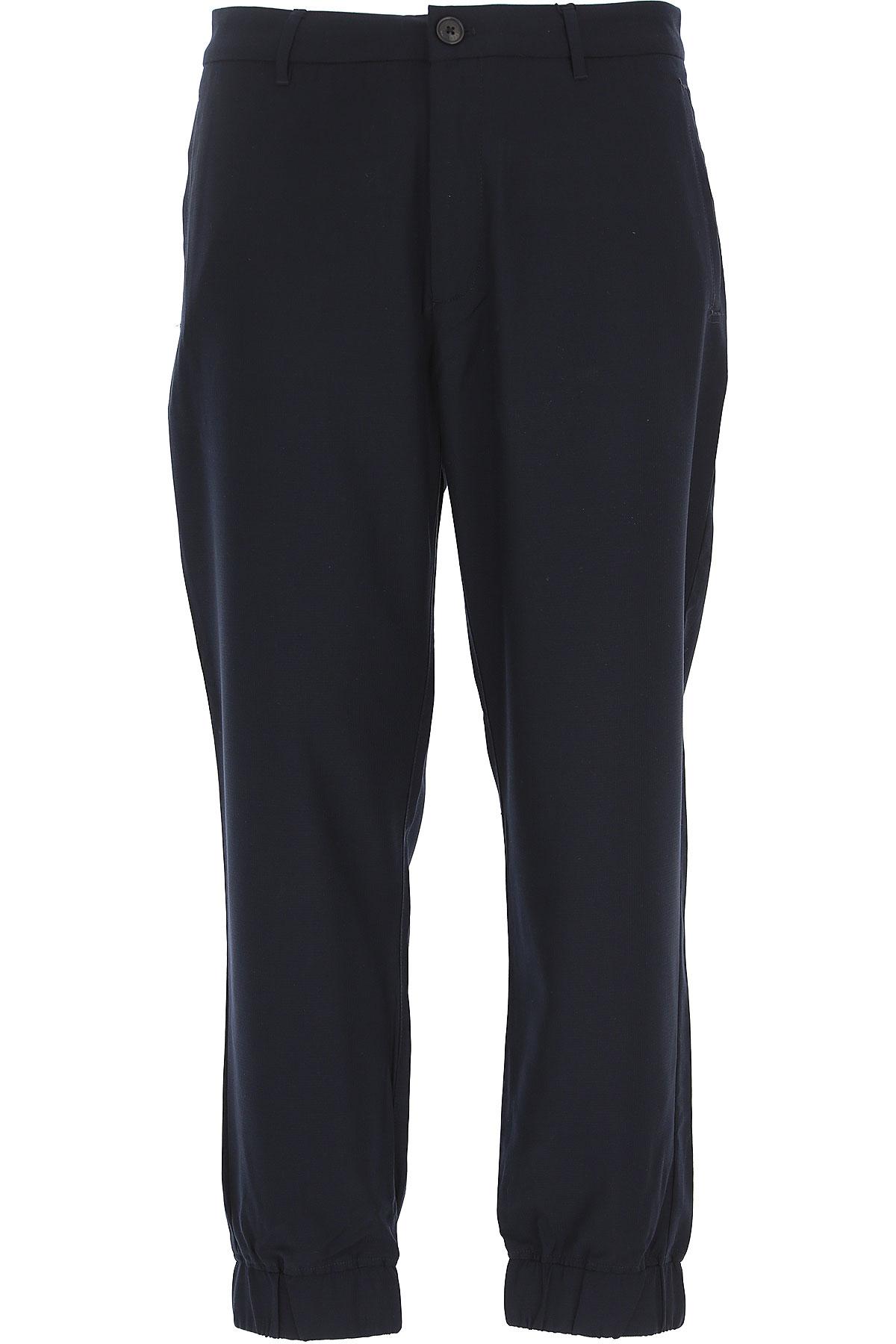 Emporio Armani Pantalon Homme Pas Cher En Soldes, Bleu Marine, Polyester, 2019, 46 47 48 49 50
